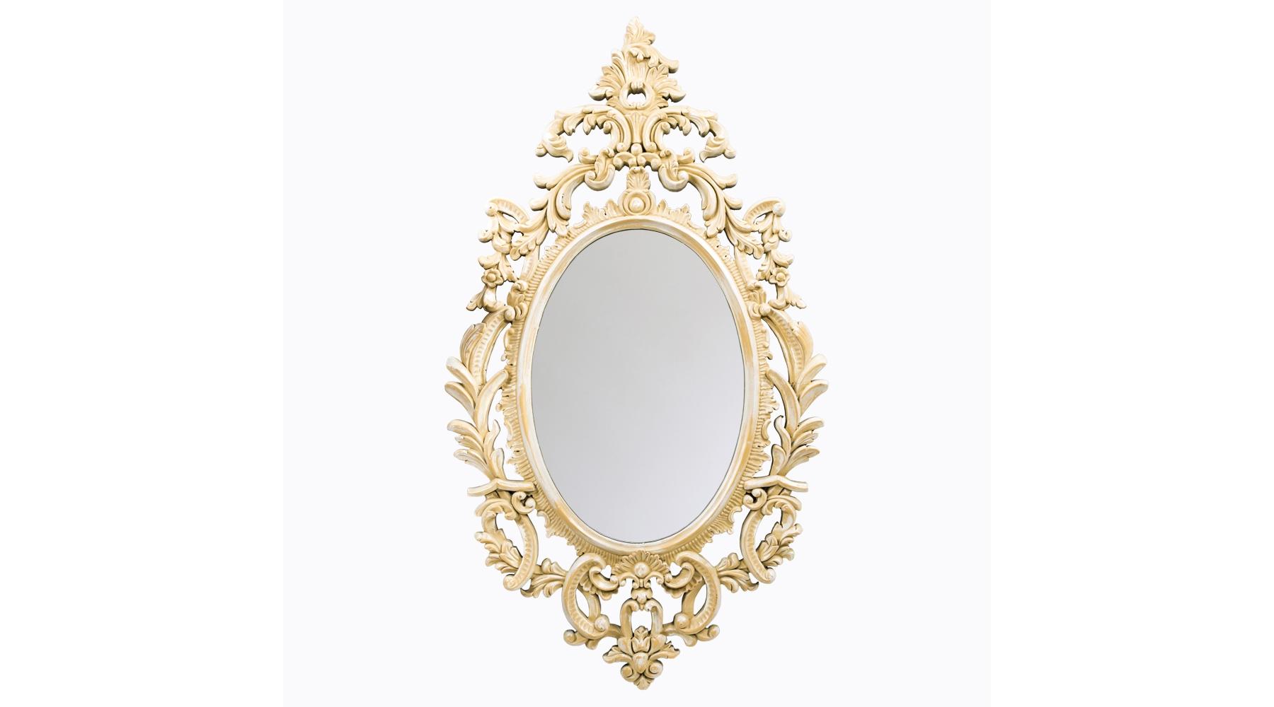 Настенное зеркало «Вивьен»Настенные зеркала<br>Эффектное зеркало в винтажном обрамлении отлично подойдет для дамского будуара или спальни, оформленной в классическом стиле, а также в стилях прованс и ар-деко. Рама изготовлена из современного мебельного полиуретана, но выглядит – точь-в-точь старинная оправа из слоновой кости, и по цвету, и по фактуре. Материал настолько прочен, что за сохранность тонкой резьбы можно не волноваться. На поверхности ППУ не образуется сколов и трещин, влаги он также не боится. Само зеркало толщиной 5 мм покрыто слоем серебряной амальгамы и отражает объекты без малейших искажений. Вес: 4,7 кг.<br><br>Material: Полиуретан<br>Width см: 73,7<br>Depth см: 4<br>Height см: 132