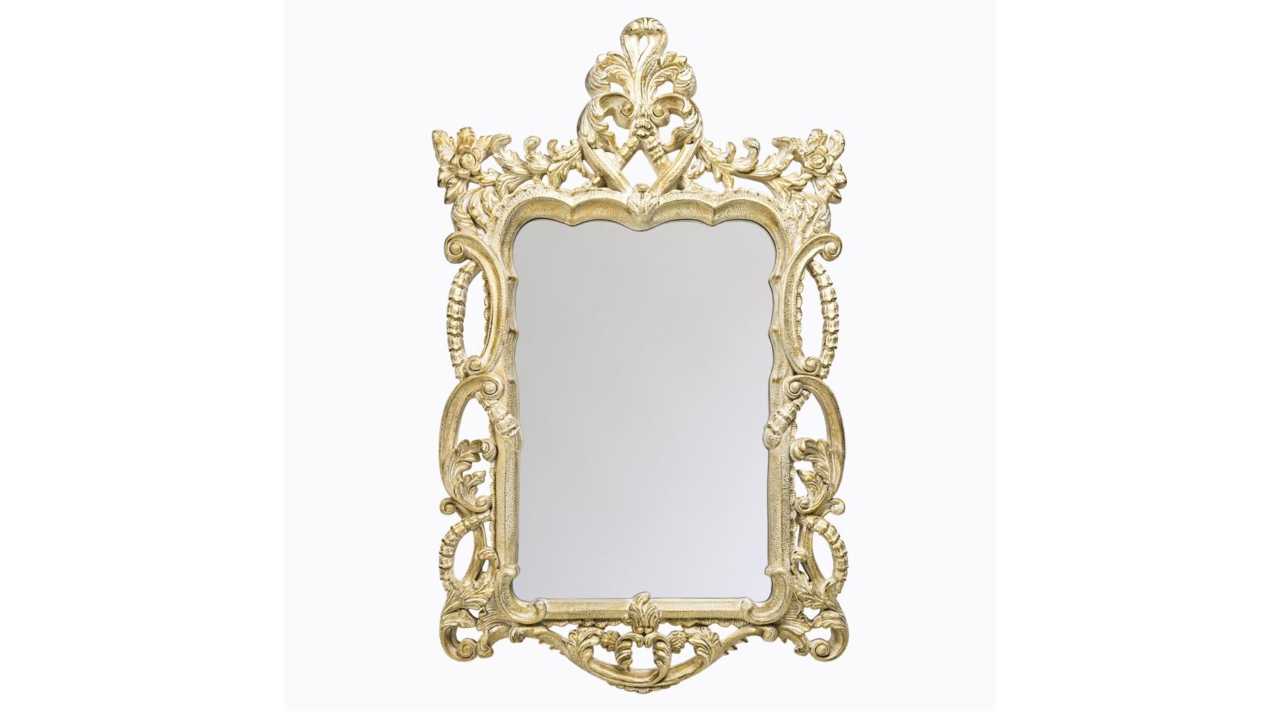 Настенное зеркало «Коринн»Настенные зеркала<br>Зеркало в золоченой раме в стиле Ренессанса – подходящая деталь для интерьера, когда нужно «броско, роскошно и винтажно». Обрамление изготовлено из современного мебельного полиуретана, материала очень прочного, долговечного, влагоустойчивого, не требующего особого ухода. Кроме того, багет, при всей внешней массивности, совсем не тяжелый – изделие весит всего 7,5 кг. Лакокрасочный состав экологичен, держится стойко и не теряет яркого блеска даже годы спустя. Толщина зеркального слоя с покрытием из серебряной амальгамы составляет 5 мм.<br><br>Material: Полиуретан<br>Ширина см: 77<br>Высота см: 122<br>Глубина см: 5