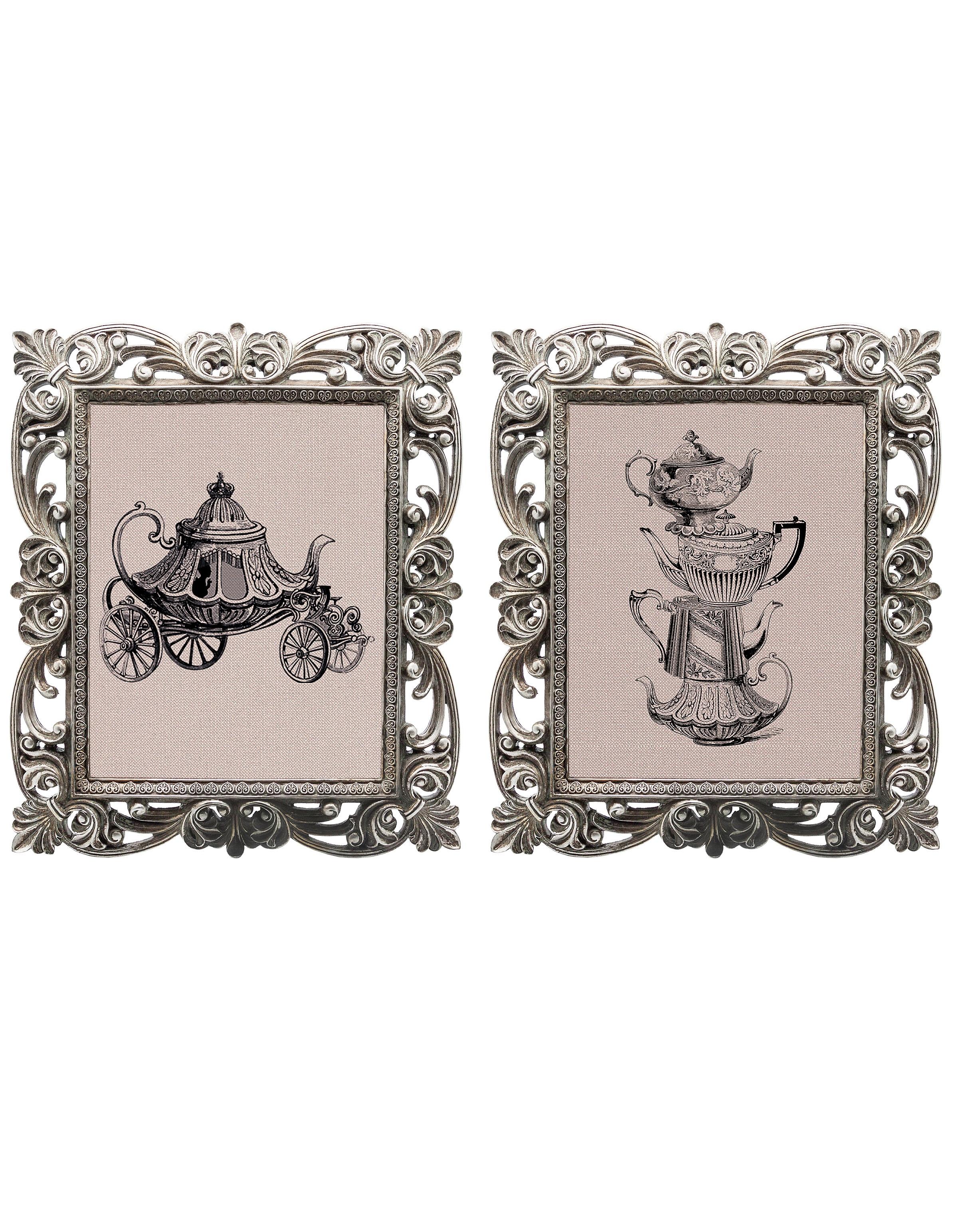 Набор из двух репродукций старинных картин в раме Беатрис. Чайный домикКартины<br>Пара старинных гравюр «Чайный домик» отпечатана на фоне, имитирующем небеленый холст, и вставлена в резные рамки «Беатрис». Любителям винтажных интерьеров такие стилизованные рисунки придутся кстати. Можно их повесить на стену на кухне и в гостиной или поставить на каминную полку. При желании изображения в рамах можно заменить. Обрамления окрашены в серебристый оттенок и покрыты слоем благородной патины, которая усиливает романтичный ретро-эффект.<br><br>Material: Камень<br>Width см: 30<br>Depth см: 2,3<br>Height см: 35