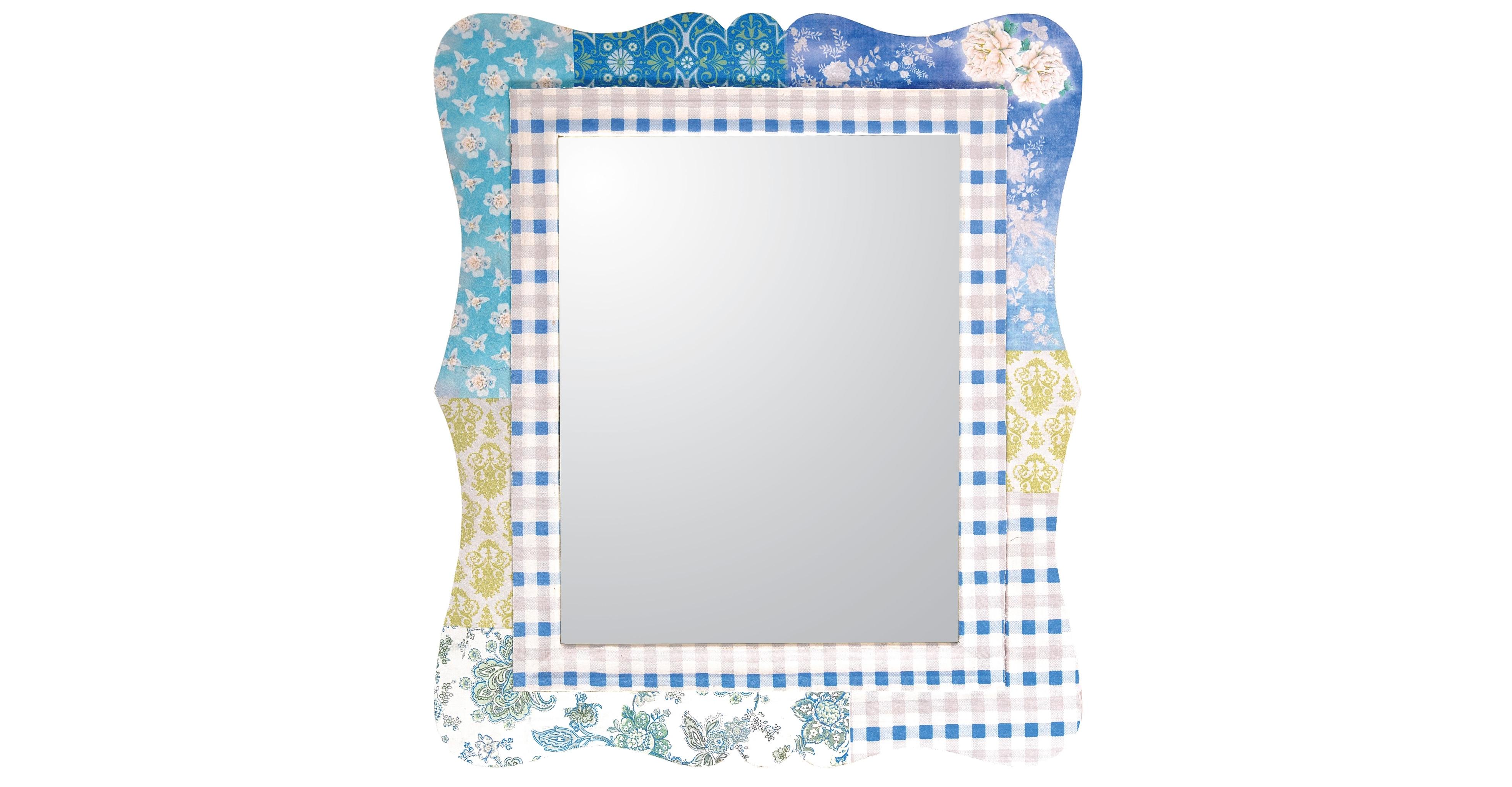 Настенное зеркалоНастенные зеркала<br>Рама этого зеркала представляет собой настоящее произведение искусства. Искусства в стиле пэчворк, предполагающего гармоничное объединение, казалось бы, несочетаемых деталей. Геометричные, растительные и другие принты создают яркое, нетривиальное и притягательное оформление. Сливающееся в романтичный образ, оно идеально подходит для интерьеров в стиле кантри. Домашний уют и очарование винтажа гарантированы!<br><br>Material: Дерево<br>Width см: 64<br>Depth см: 1<br>Height см: 73
