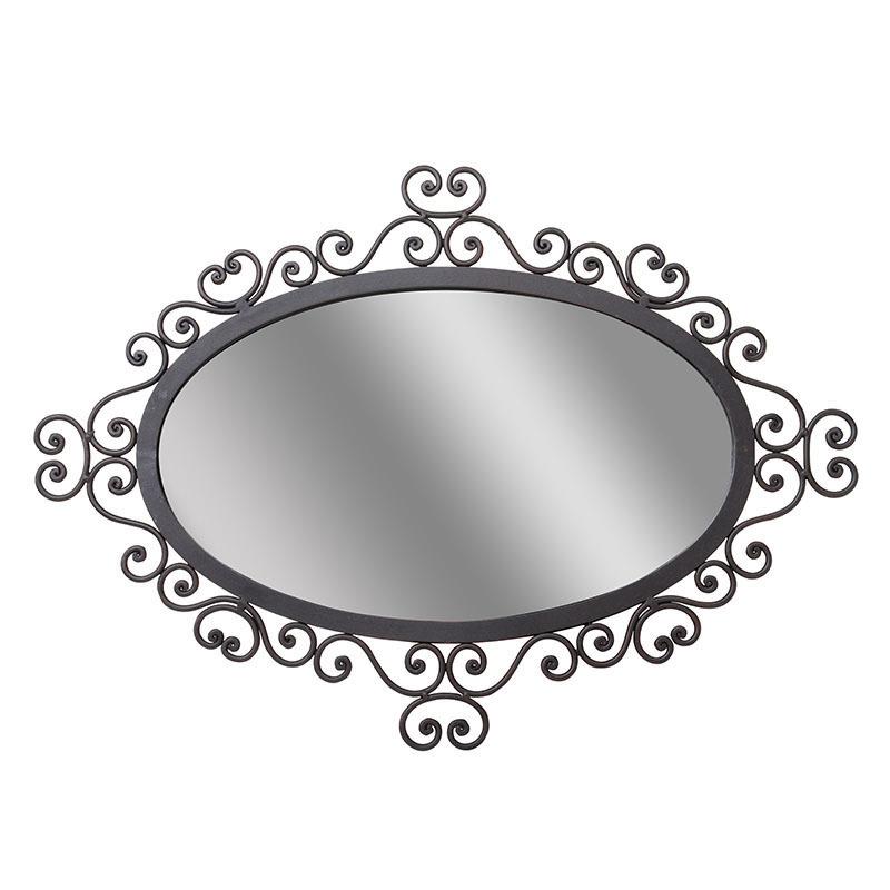 Зеркало в кованой рамеНастенные зеркала<br>Кованое железо ? синоним брутальности, храбрости и серьезности. Кокетливые завитки ? олицетворение изящества и нежности. В зеркале от To4rooms эти разноплановые составляющие объединяются, чтобы создать потрясающе оригинальный образ. Полный контрастов, он притягивает к себе внимание и заставляет навсегда влюбиться в воплощение противоречивой гармонии. Нестандартные рустикальные интерьеры просто нуждаются в таком дополнении!<br><br>Material: Металл<br>Width см: 56<br>Depth см: 3<br>Height см: 79