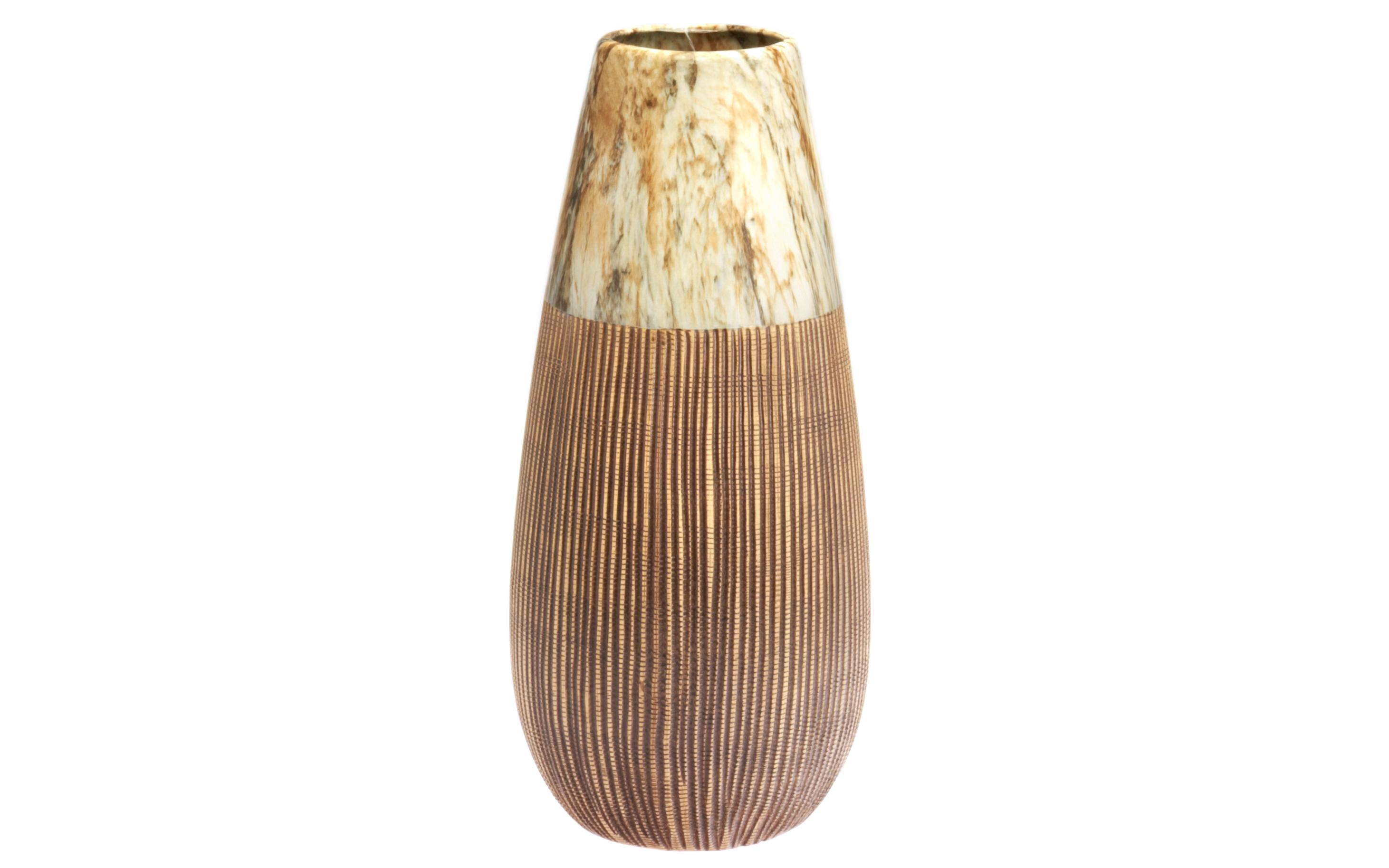 ВазаВазы<br>Эта керамическая ваза создана в этническом стиле. Совершенство форм и гармония полутонов придают модели особый шарм и контрастность. Одна часть предмета имеет рельефную поверхность и выполнена в коричневом цвете. Вторая, наименьшая, оформлена размытыми штрихами. Благодаря такому необычному сочетанию образ получился &amp;amp;nbsp;«многоликим» и колоритным.<br><br>Material: Керамика<br>Ширина см: 19<br>Высота см: 41.5
