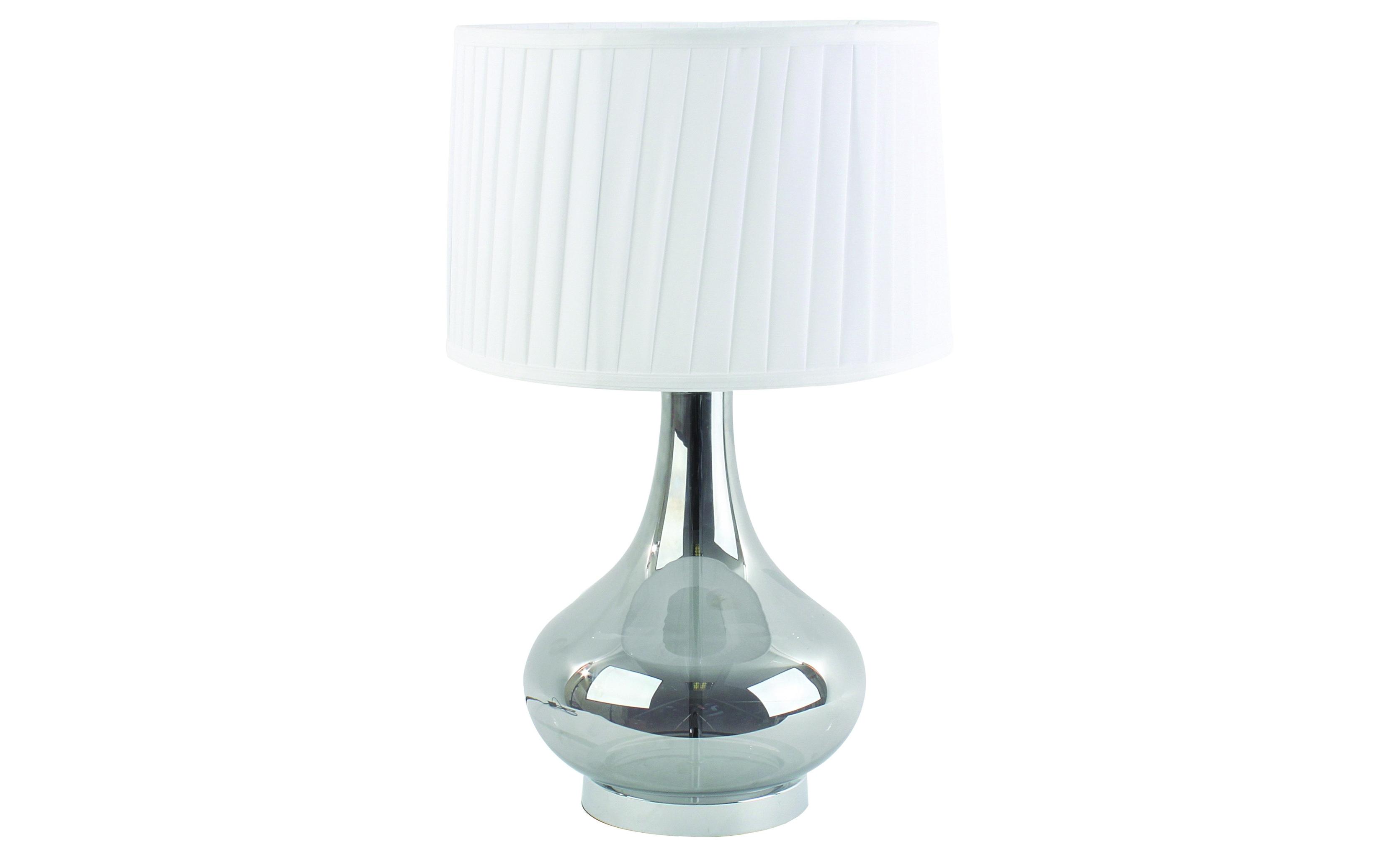 Лампа настольнаяДекоративные лампы<br>&amp;lt;div&amp;gt;Элегантная лампа белого цвета сочетает в себе сдержанность и умеренность в отделке. Текстильный абажур собран &amp;amp;nbsp;в идеально ровные складки, а металлическое основание добавляет образу особой эстетики. Эта лампа может претендовать на место на рабочем столе или разместиться на прикроватной тумбе в спальне.&amp;lt;/div&amp;gt;&amp;lt;div&amp;gt;&amp;lt;br&amp;gt;&amp;lt;/div&amp;gt;Лампа настольная,1 лампа, цоколь Е27, мощность 60W <br>материал: металл, лен, полиэстер <br>цвет: серебрянный<br><br>Material: Текстиль<br>Width см: 33<br>Height см: 53