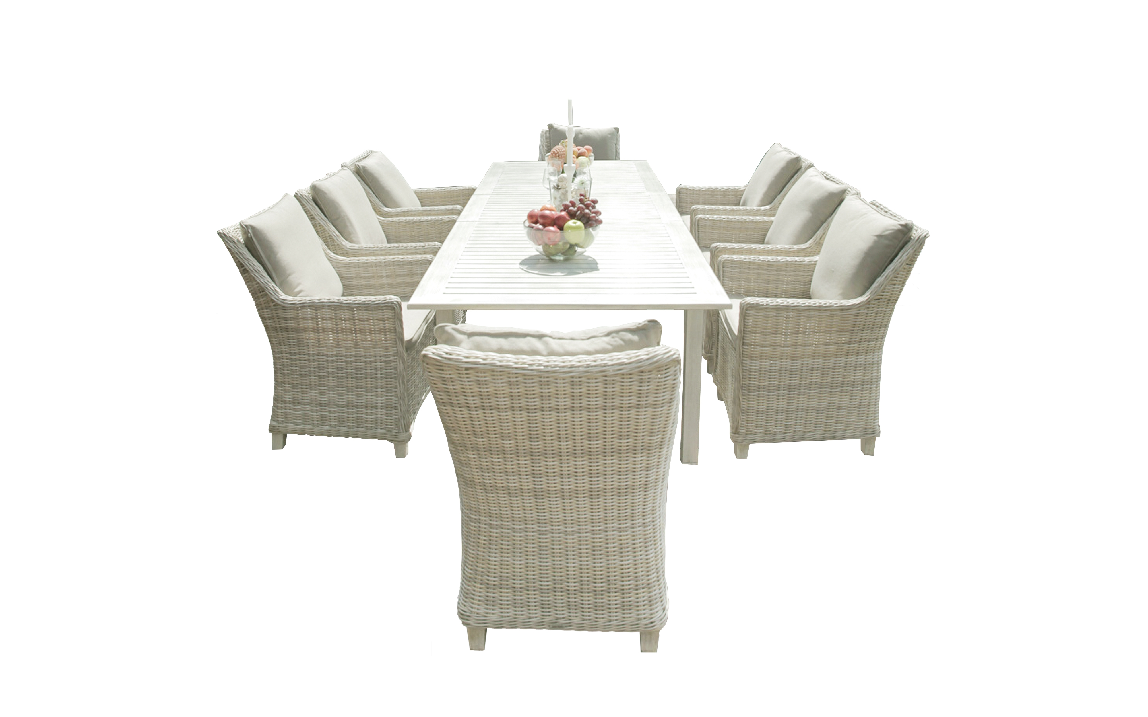 Комплект мебели из ротанга ТОСКАНАКомплекты уличной мебели<br>&amp;lt;div&amp;gt;Стильный большой &amp;amp;nbsp;комплект мебели из ротанга ТОСКАНА - отличный выбор для летних веранд, садовых площадок, также удачно впишется в интерьер загородного дома или дачи. Особенность обеденной группы ТОСКАНА в том, что такой функциональной мебели нипочем капризы природы. Каркасы в комплекте мебели укреплены алюминиевыми стойками, которые полностью обтянуты плетением из ротанга. Представленный набор мебели изготовлен из экологически чистых материалов, рассчитан на длительное использование на открытом воздухе!&amp;lt;/div&amp;gt;&amp;lt;div&amp;gt;&amp;lt;b&amp;gt;В комплект входит:&amp;lt;/b&amp;gt;&amp;lt;/div&amp;gt;&amp;lt;div&amp;gt;раскладывающийся большой, но ЛЕГКИЙ &amp;lt;b&amp;gt;стол&amp;lt;/b&amp;gt;, материал поливуд - искусственное дерево,&amp;lt;/div&amp;gt;&amp;lt;div&amp;gt;&amp;lt;b&amp;gt;восемь удобных кресел&amp;lt;/b&amp;gt; из ротанга, дополненных мягкими подушками.&amp;amp;nbsp;&amp;lt;/div&amp;gt;&amp;lt;div&amp;gt;По желанию можно добавить еще два кресла, что обеспечит эстетическое удовольствие и комфорт для отдыха большой семье или компании.&amp;amp;nbsp;&amp;lt;/div&amp;gt;&amp;lt;div&amp;gt;Размеры мебели ТОСКАНА&amp;lt;/div&amp;gt;&amp;lt;div&amp;gt;Стол: 217/277*100*75,5 см&amp;amp;nbsp;&amp;lt;/div&amp;gt;&amp;lt;div&amp;gt;Стол: материал поливуд (искусственное дерево)&amp;lt;/div&amp;gt;&amp;lt;div&amp;gt;Кресло: 62*71*90,5 см&amp;lt;/div&amp;gt;&amp;lt;div&amp;gt;Материал ротанг/алюминий&amp;lt;/div&amp;gt;&amp;lt;div&amp;gt;&amp;lt;br&amp;gt;&amp;lt;/div&amp;gt;<br><br>Material: Ротанг<br>Length см: 277<br>Width см: 100<br>Height см: 75,5