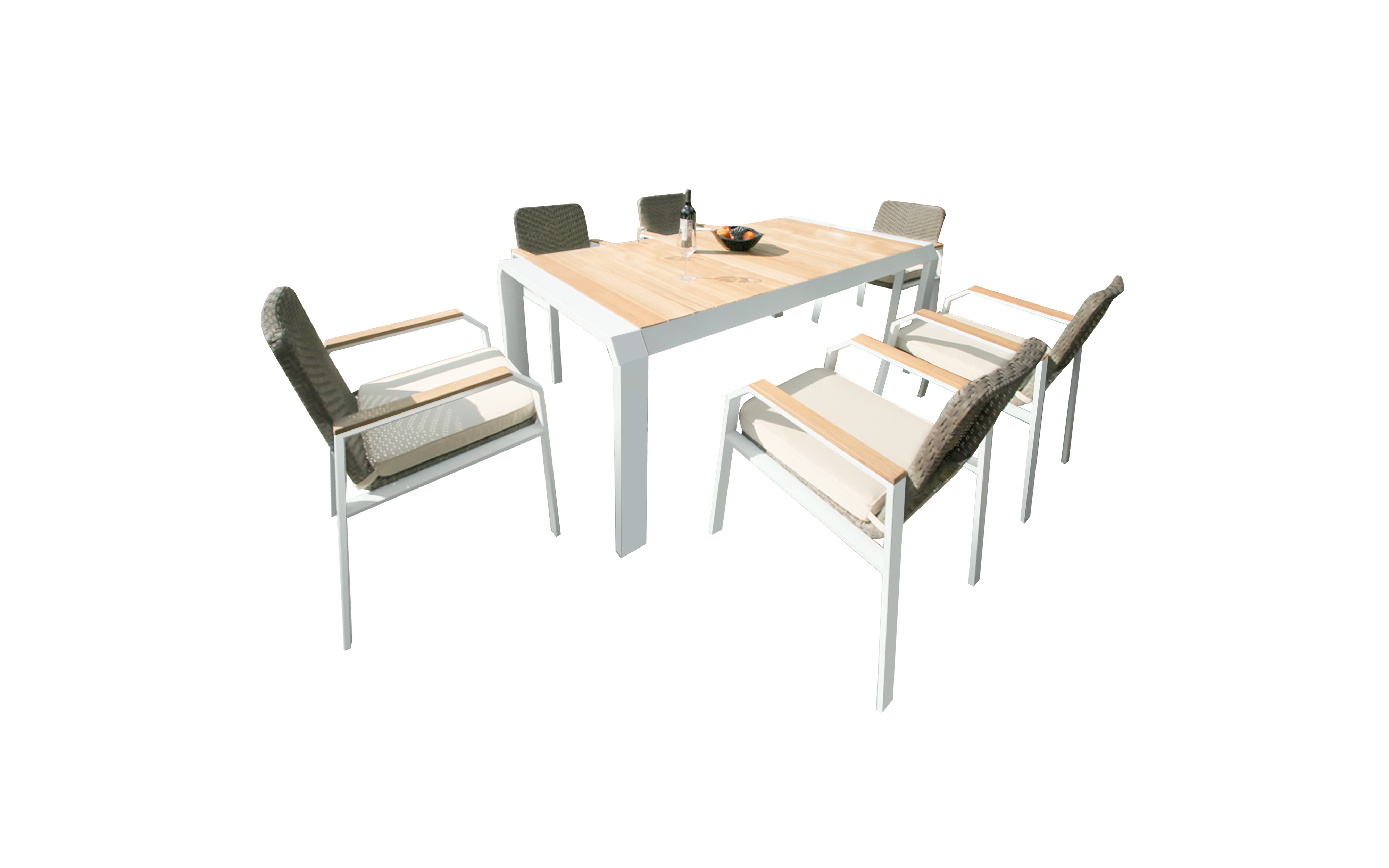 Комплект уличной мебели из ротанга TEAKMANКомплекты уличной мебели<br>&amp;lt;div&amp;gt;Комплект, обеденная группа TEAKMAN из ротанга - это садовая мебель, которая украсит Ваш интерьер и создаст комфорт в квартире, доме, на даче, в зимнем саду.&amp;lt;b&amp;gt; В комплект входят стол и шесть стульев с подушками&amp;lt;/b&amp;gt;. Благодаря каркасу, изготовленному из анодированного алюминия, комплект TEAKMAN может выдержать большой вес, а помимо изысканного дизайна отличается еще легкостью и высокой прочностью. Это отличное решение для летних веранд, террас и садовых площадок различного стилевого решения.&amp;lt;/div&amp;gt;&amp;lt;div&amp;gt;Обеденный стол TEAKMAN:&amp;lt;/div&amp;gt;&amp;lt;div&amp;gt;Столешница/каркас: &amp;amp;nbsp;тик/алюминий&amp;lt;/div&amp;gt;&amp;lt;div&amp;gt;Размеры: 200х100х77 см&amp;lt;/div&amp;gt;&amp;lt;div&amp;gt;стулья TEAKMAN&amp;lt;/div&amp;gt;&amp;lt;div&amp;gt;Сиденье, спинка/каркас: тик, искусственный ротанг/алюминий&amp;lt;/div&amp;gt;&amp;lt;div&amp;gt;Размеры: 56х64х86 см&amp;lt;/div&amp;gt;<br><br>Material: Ротанг<br>Length см: 200<br>Width см: 100<br>Height см: 77