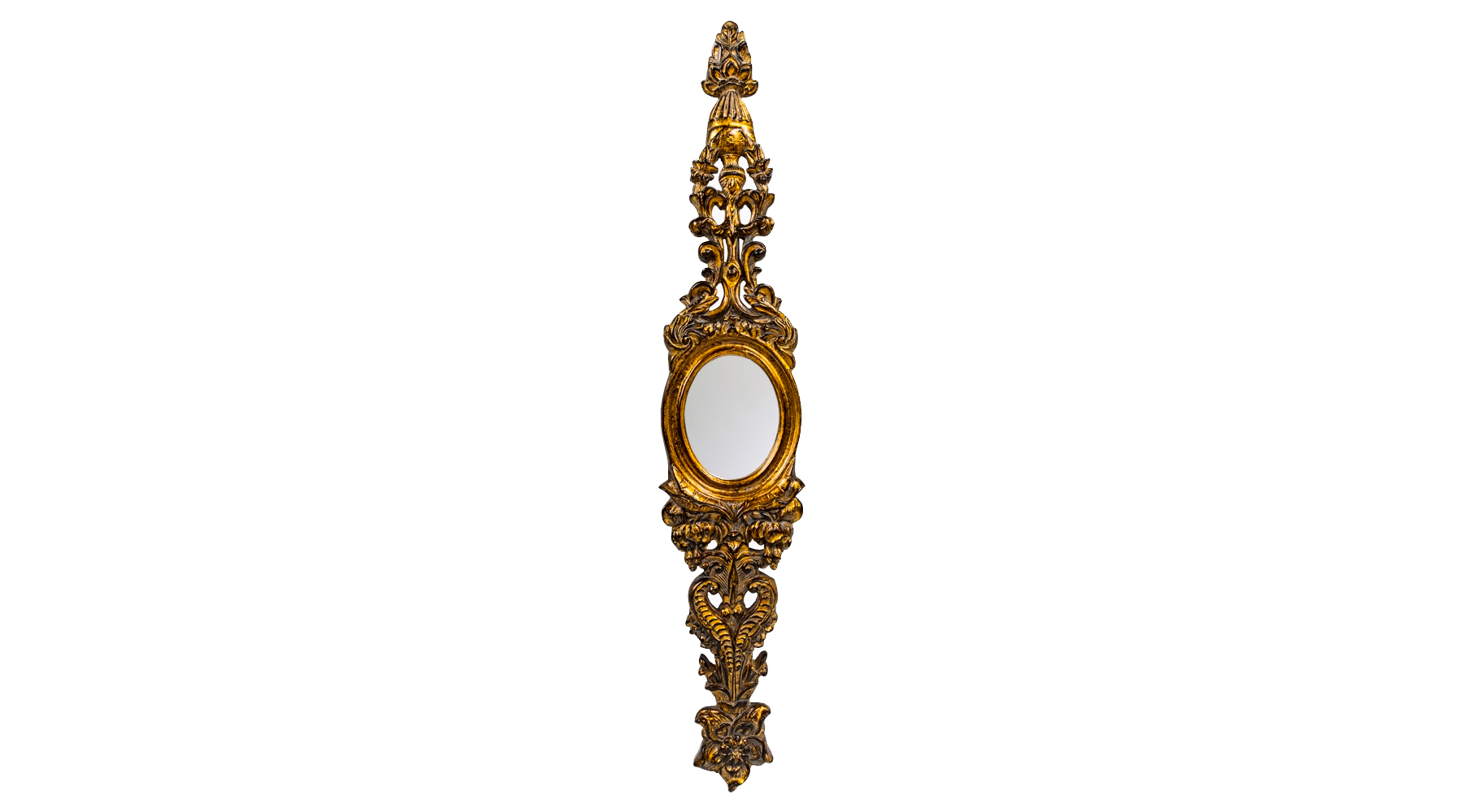 Настенное зеркало «Моник»Настенные зеркала<br>Такое необычное зеркало-панно напоминает старинные дамские украшения из благородных металлов. Золоченая рама с тончайшей резьбой изготовлена из мебельного полиуретана. Этот материал очень прочен, не крошится, не трескается. Качественное лакокрасочное покрытие не изменяет своих свойств, не тускнеет со временем. Зеркальная гладь толщиной 5 мм с покрытием из серебряной амальгамы максимально точно, без искажений отражает объекты и предметы. Она не боится влаги и не подвержена коррозии. Вес: 1,6 кг.<br><br>Material: Полиуретан<br>Ширина см: 23<br>Высота см: 124<br>Глубина см: 4