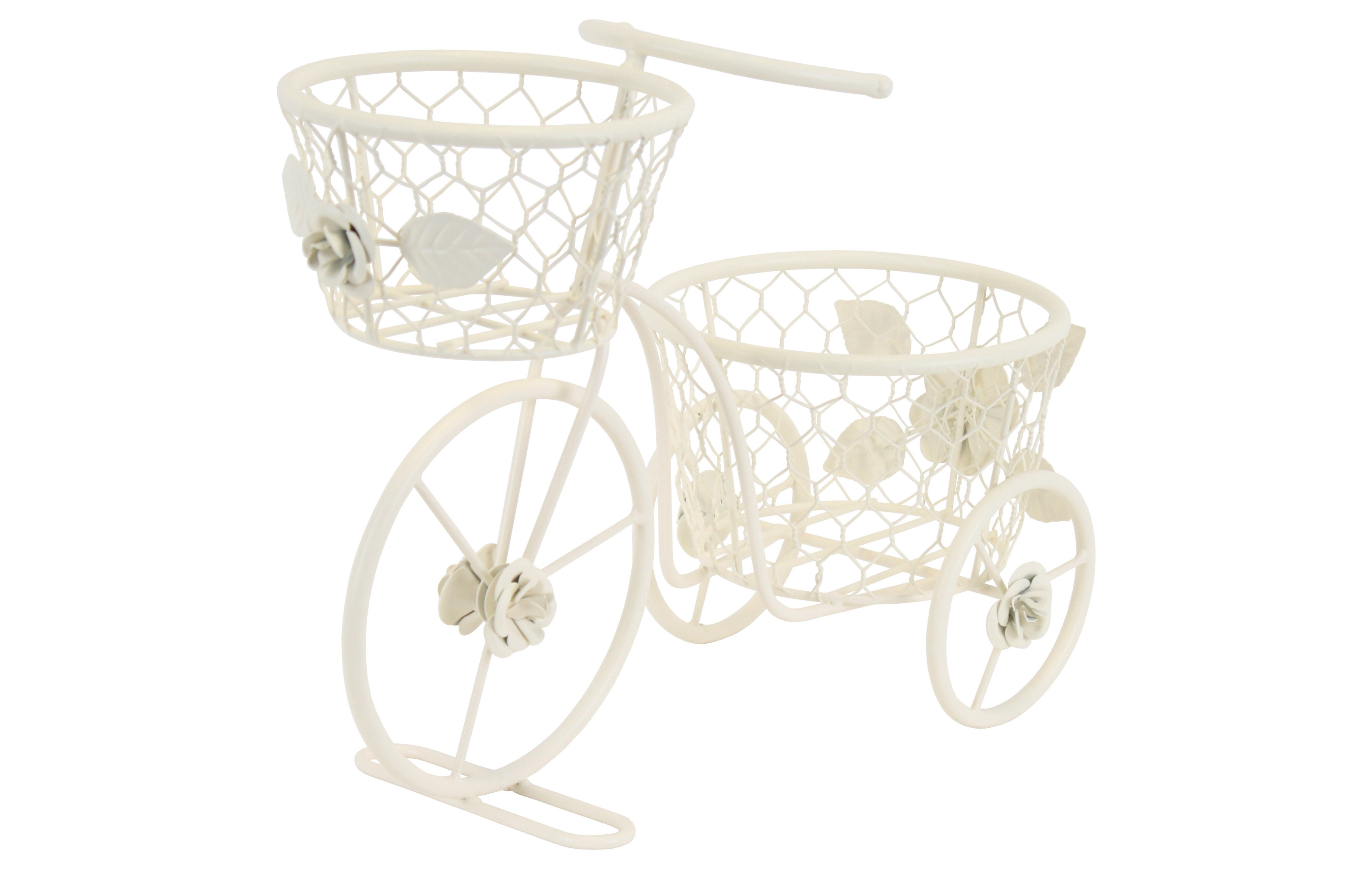 КашпоКашпо и подставки для дачи и сада<br>Металлическое кашпо в виде велосипеда – одна из самых модных вещиц для интерьера! Детали сварены очень крепко, украшены коваными цветами и окрашены в светло-бежевый оттенок. Краска надежно защищает металл от коррозии, не трескается и не меняет свой цвет со временем. Кашпо не громоздкое, без труда поместится на подоконник стандартных габаритов.<br><br>Material: Металл<br>Length см: 43<br>Width см: 19<br>Height см: 32