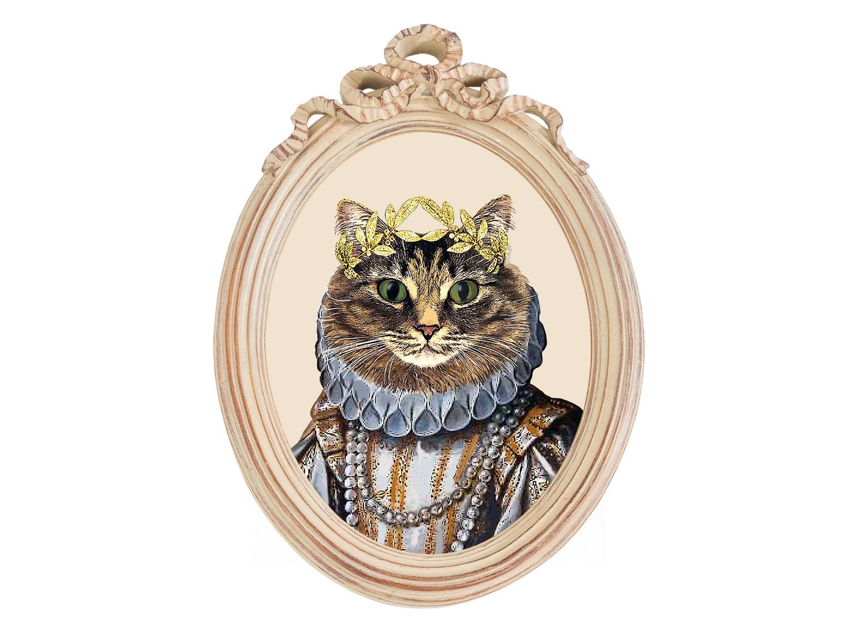 Репродукция гравюры «Мисс Кошка» в раме «Бернадетт»Картины<br>В овальные рамы-медальоны всегда помещали портреты знатных особ. А если дама – кошка, да еще в парадном платье Елизаветы Тюдор? Тем лучше! Хозяина такой вещицы можно обвинить в отличном чувстве юмора и вкусе! Рисунок, стилизованный под старинную раскрашенную гравюру, отпечатан на холсте и обрамлен винтажным багетом «Бернадетт». Репродукция «Мисс Кошка» входит в лимитированную коллекцию предметов декора, созданную по мотивам сказок Льюиса Кэролла.<br><br>Material: Полистоун<br>Width см: 30,5<br>Depth см: 4,3<br>Height см: 43