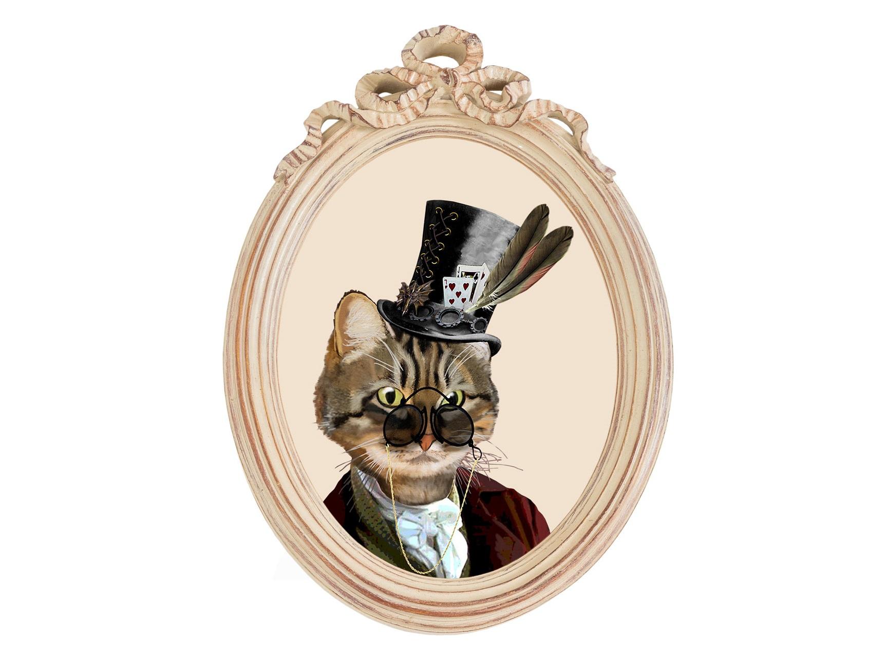 Репродукция гравюры «Мистер Кот» в раме «Бернадетт»Картины<br>Образ этого хвостатого господина, без сомнения, навеян Чеширским Котом из «Алисы в стране чудес». Образ дополняют наряд лондонского денди, огромное пенсне и высокий цилиндр, которому позавидовал бы и Шляпник. Рисунок выполнен в технике гравюры и отпечатан на холсте. Финальный штрих – винтажная овальная рама-медальон «Бернадетт». Такая репродукция добавит любому классическому интерьеру пикантности и немного юмора.<br><br>Material: Полистоун<br>Width см: 30,5<br>Depth см: 4,3<br>Height см: 43