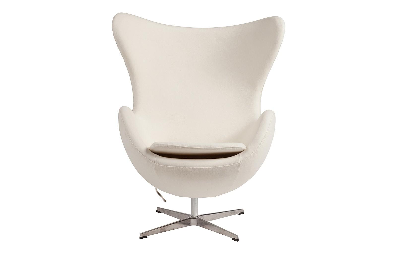 Кресло Egg ChairИнтерьерные кресла<br>Легендарное капсульное кресло &amp;amp;nbsp;белоснежного цвета станет любимым местом в доме, где отдыхает душа и тело.&amp;amp;nbsp;&amp;quot;Egg Chair&amp;quot; можно сравнить с защитной мантией, под которой ты становишься неуязвим. Или может мягким облаком, которое уносит тебя в мечты... Или уютным обволакивающим коконом. В общем, в нем можно томиться в мечтах, отвлекаясь от ежедневной суеты.<br><br>Material: Кашемир<br>Width см: 76<br>Depth см: 82<br>Height см: 105