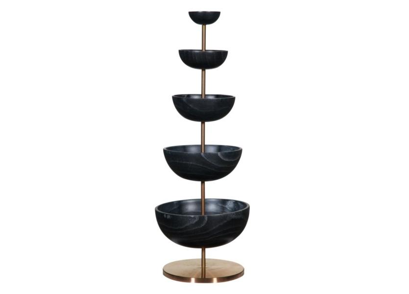 Ваза настольная многоярусная Bowl WoodХранение украшений<br>Bowl Wood – красивый и функциональный аксессуар, а также незаменимая вещь при сервировке стола. Темные чаши на утонченной металлической подставке золотистого оттенка смотрятся сдержанно и благородно. Но стоит дополнить вазу вкусными &amp;quot;украшениями&amp;quot; в виде фруктов и конфет, как тут же получается радужная и &amp;quot;уютная&amp;quot; композиция. &amp;amp;nbsp;<br><br>Material: Дерево<br>Высота см: 76