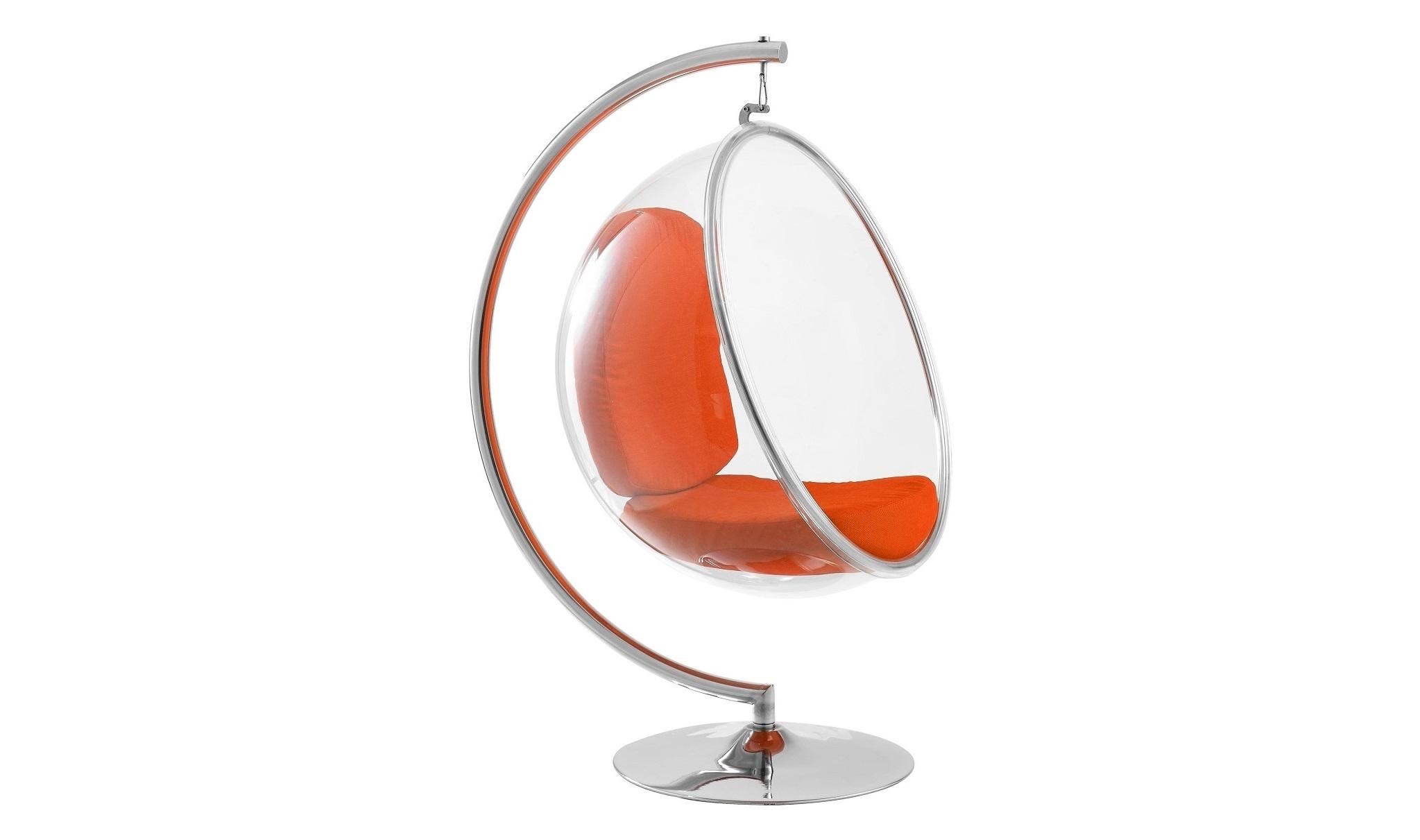 Кресло Bubble Chair with StandПодвесные кресла<br>Кресло-пузырь придумал 40 лет назад дизайнер Ээро Аарнио (Eero Aarnio). Но восхищает он любителей необычной мебели и сейчас. И не бойтесь, что пузырь лопнет. Прозрачные стенки изготовлены из сверхпрочного пластика, а в комплект входит специальная стальная конструкция-держатель, многократно проверенная в специальной краш-лаборатории. Внутри прозрачного каркаса – сиденье из яркой мягкой материи с наполнителем из полиуретана.&amp;lt;br&amp;gt;<br><br>Material: Кожа<br>Width см: 106<br>Depth см: 107<br>Height см: 170