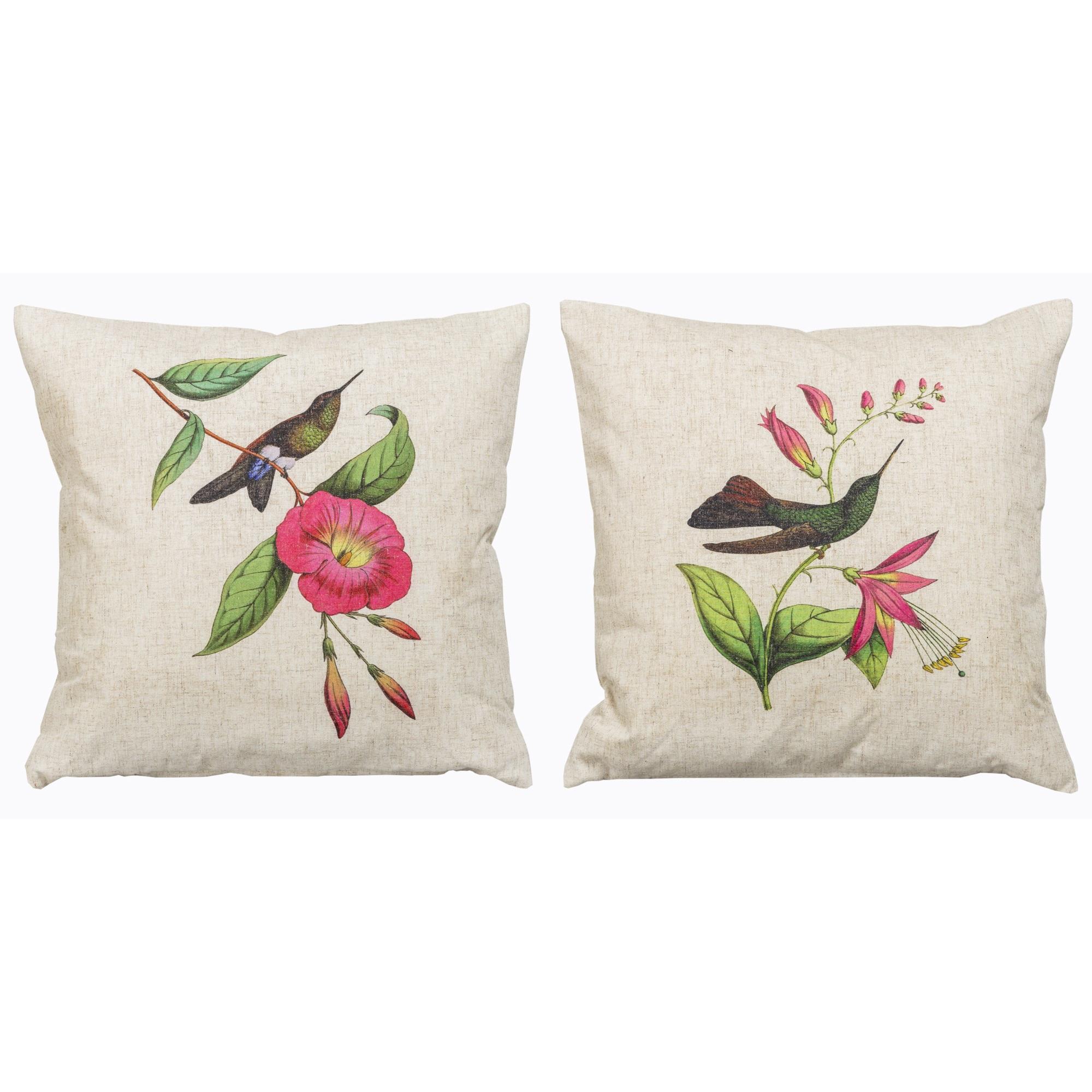 Набор из двух декоративных подушек Птица счастьяКвадратные подушки<br>Интерьер в жанре &amp;quot;прованс&amp;quot; - отрадный покой и уют Вашего дома. Девиз &amp;quot;прованса&amp;quot; - изящество в простоте. Его цветовым инструментом является пастельный светло-бежевый цвет - успокаивающая нега мокрого морского песка, оттененного нежной прохладой лаванды и природной зелени. Цветочный рисунок - гамма гармонии и летней полуденной неги. Настроение - в отборных деталях, сливающихся в единый рисунок, созданный художником словно бы по Вашему индивидуальному заказу.<br>Набор подушек «Птица счастья» уникален: каждый из рисунков выпущен лимитированным тиражом.<br>Плотность ткани обеспечит Вам не только дополнительную мягкость, но и максимальную долговечность любимого аксессуара.<br><br>Material: Лен<br>Width см: 45<br>Height см: 45