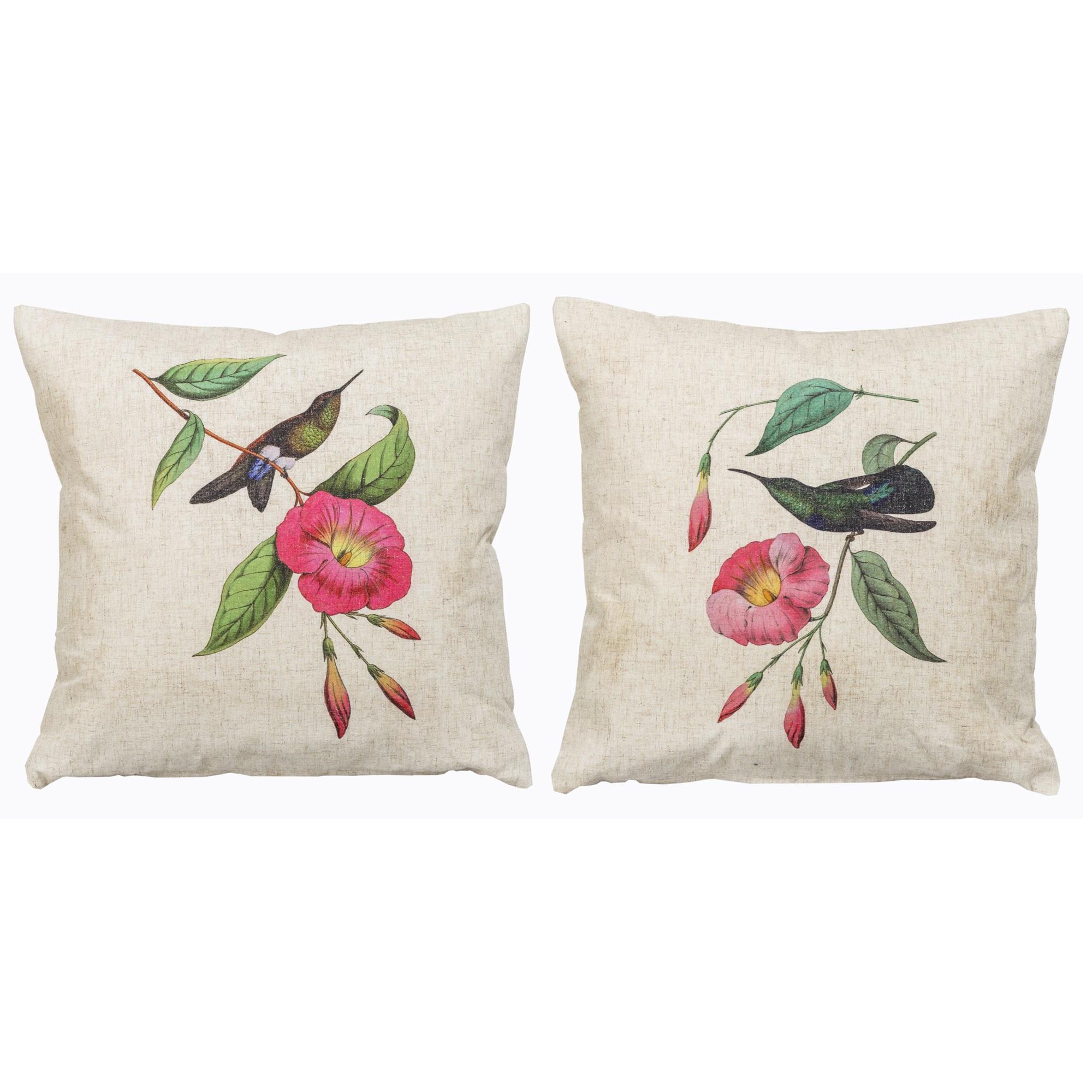 Набор из двух декоративных подушек Птица счастьяКвадратные подушки<br>Декоративные подушки серии &amp;quot;Птица счастья&amp;quot; - атмосфера эмоционального простора и свежего воздуха в Вашем доме. Для спальни, гостиной, столовой, детской комнаты и холла они способны стать оазисом позитивного настроения. Пастельные тона, нежный цветочный рисунок - автограф весны в Вашем интерьере.<br>Эти подушки уникальны:  каждый из рисунков выпущен лимитированным тиражом. <br>Плотность ткани обеспечит Вам не только дополнительную мягкость, но и максимальную долговечность любимого аксессуара.<br><br>Material: Лен<br>Width см: 45<br>Height см: 45