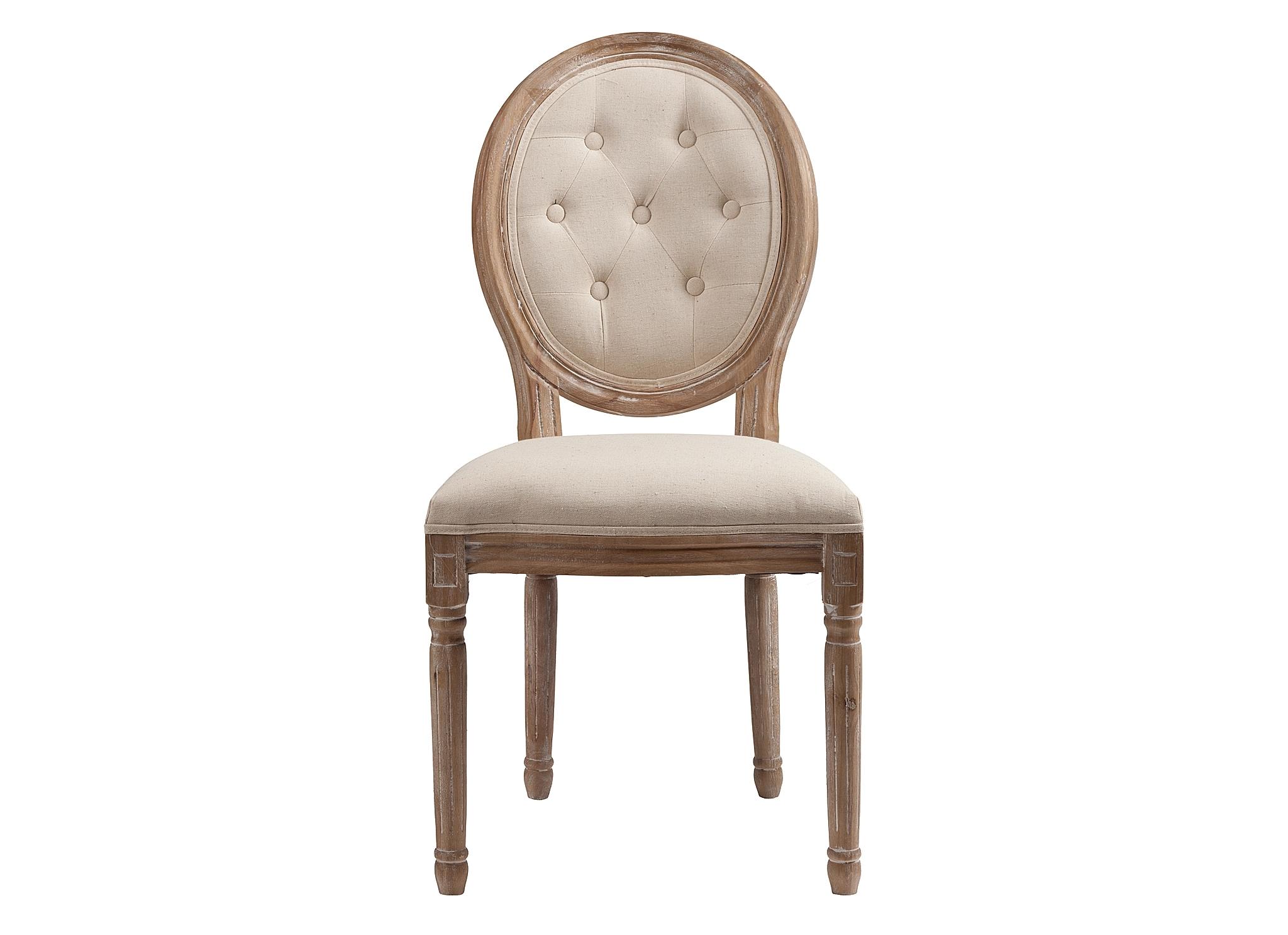 Стул MauriceОбеденные стулья<br>Винтажный стул без подлокотников Maurice идеально подходит для интерьеров в роскошном французском стиле, а также стилях прованс и шебби-шик. Изящные резные ножки и детали каркаса выточены из древесного массива и искусственно состарены, выбелены, а обивка сиденья и спинки-медальона сшиты из льняной материи натурального небеленого оттенка.<br><br>Material: Лен<br>Width см: 50<br>Depth см: 56<br>Height см: 96