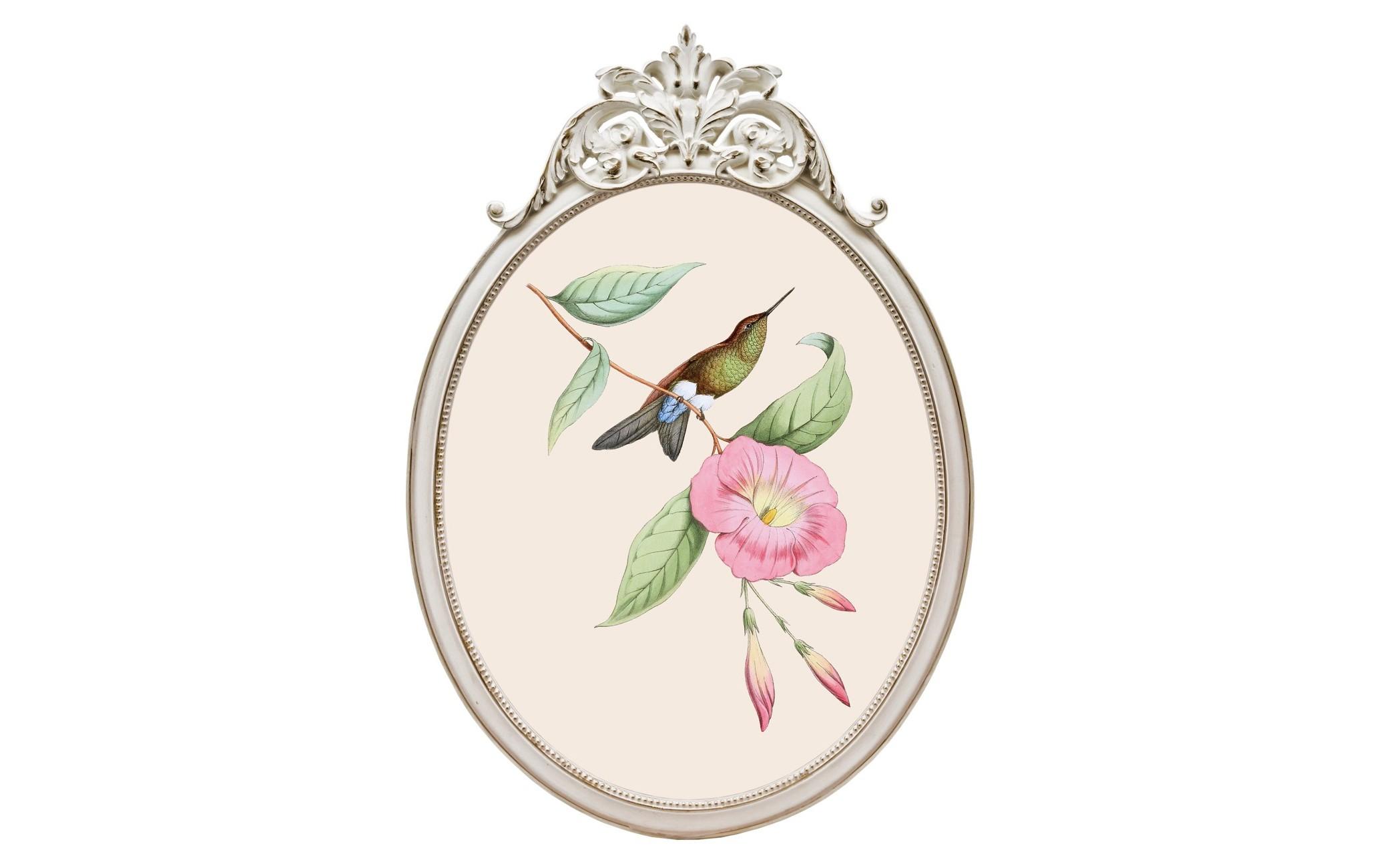 Репродукция гравюры «Птица счастья» в раме «Офелия»Картины<br>Создавая идеальный домашний интерьер, важно не упустить ни единой детали. В том числе и при выборе картин, которые способны дополнить романтический образ Вашего дома. Изящные изображения, плавные очертания рам, нежные тона безупречны в своем исполнении.  Репродукция «Птица счастья»  - желанное интерьерное украшение гостиной, столовой, спальни, кабинета и детской комнаты, способное задать пространству стиль и достоинство.<br>Изыск, аристократичность, респектабельность и попросту очарование - доступные свойства Вашего интерьера. <br>Оригинальная картинная рама - простой и легкий, но роскошный и эффективный интерьерный прием. <br>Классический белый цвет рамы - залог соседства с большинством предметов мебели и декора. Овальные рамы идеально рифмуются в интерьере с зеркалами и стульями. <br>Симметричные формы формируют имидж аккуратности и уюта. <br>Искусная техника состаривания придает раме особую теплоту и уют. Античная дымка резного узора элегантна и романтична. <br>Цифровая печать на холсте досконально передает каждое движение кисти художника и сохраняет эффект объемности линий. <br>Рамы, выполненные из полистоуна, неприхотливы в уходе. Этот материал прочен, легок, стоек к влаге и солнечному свету.  <br>Для крепления к стене рама снабжена широкой и прочной металлической скобой, обеспечивающей быстрый легкий монтаж и идеально симметричное положение рамы. Даже с оборотной стороны рама выглядит эстетично.<br><br>Material: Полистоун<br>Width см: 29,3<br>Depth см: 2<br>Height см: 41,5