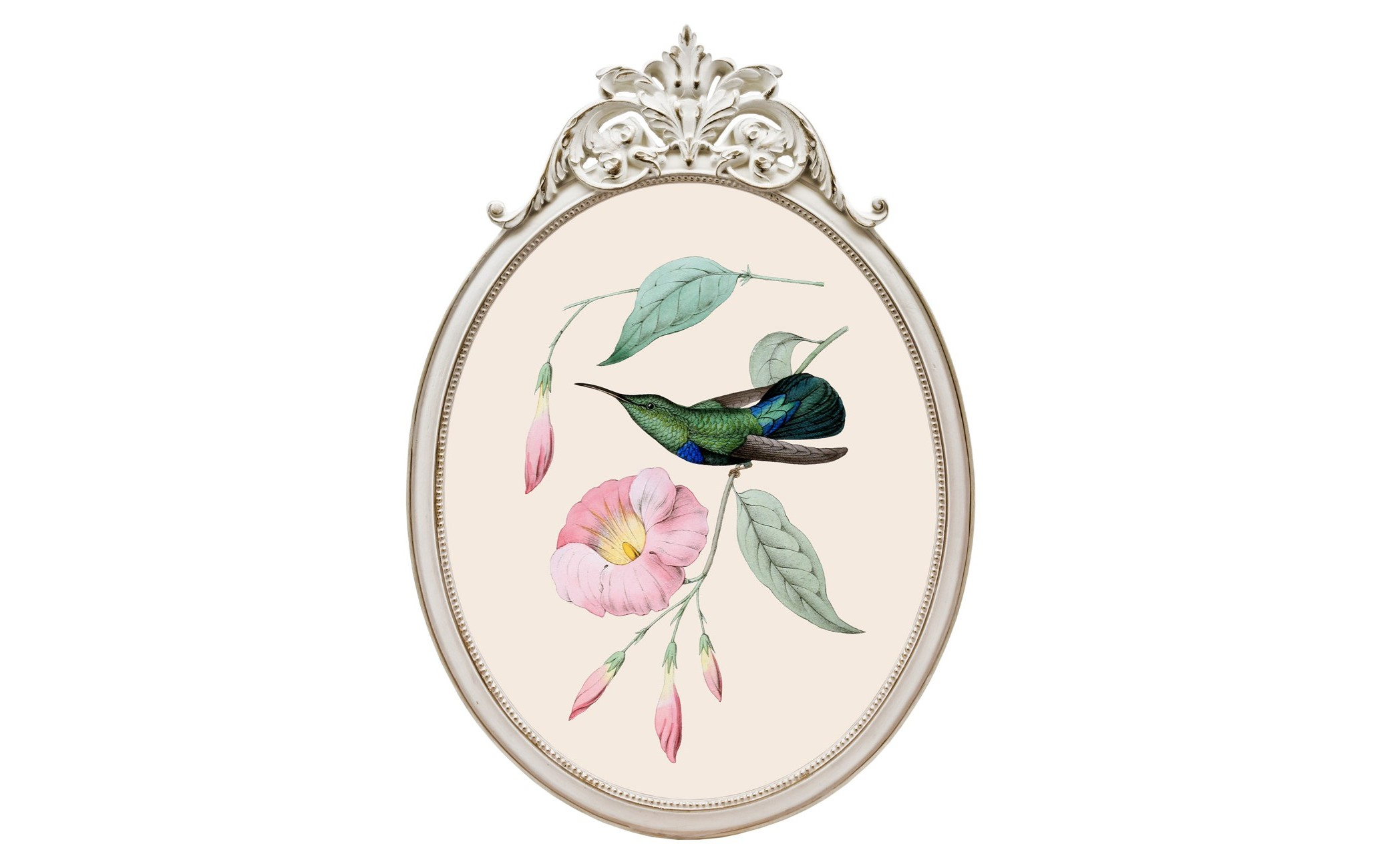Репродукция гравюры «Птица счастья» в раме «Офелия»Картины<br>Репродукция «Птица счастья»  - желанное интерьерное украшение гостиной, столовой, спальни, кабинета и детской комнаты, способное задать пространству стиль и достоинство. Но, какой бы гениальной ни была картина, без достойной рамы она останется незавершенной. Воздушно-нежная рама - источник домашнего уюта и комфорта. <br>Классический цвет - универсальная  совместимость с абсолютно любым цветовым фоном помещения. Плавные линии и светлые тона, свойственные классицизму, свободно впишутся в палитру &amp;quot;ар-деко&amp;quot;, &amp;quot;модерна&amp;quot;, &amp;quot;прованса&amp;quot; и &amp;quot;кантри&amp;quot;. <br>Классический белый цвет рамы - залог соседства с большинством предметов мебели и декора. Овальные рамы идеально рифмуются в интерьере с зеркалами и стульями.<br>Цифровая печать на холсте досконально передает каждое движение кисти художника и сохраняет эффект объемности линий. <br>Рамы, выполненные из полистоуна, неприхотливы в уходе. Этот материал прочен, легок, стоек к влаге и солнечному свету. <br>Для крепления к стене рама снабжена широкой и прочной металлической скобой, обеспечивающей быстрый легкий монтаж и идеально симметричное положение рамы.<br><br>Material: Полистоун<br>Width см: 29,3<br>Depth см: 2<br>Height см: 41,5