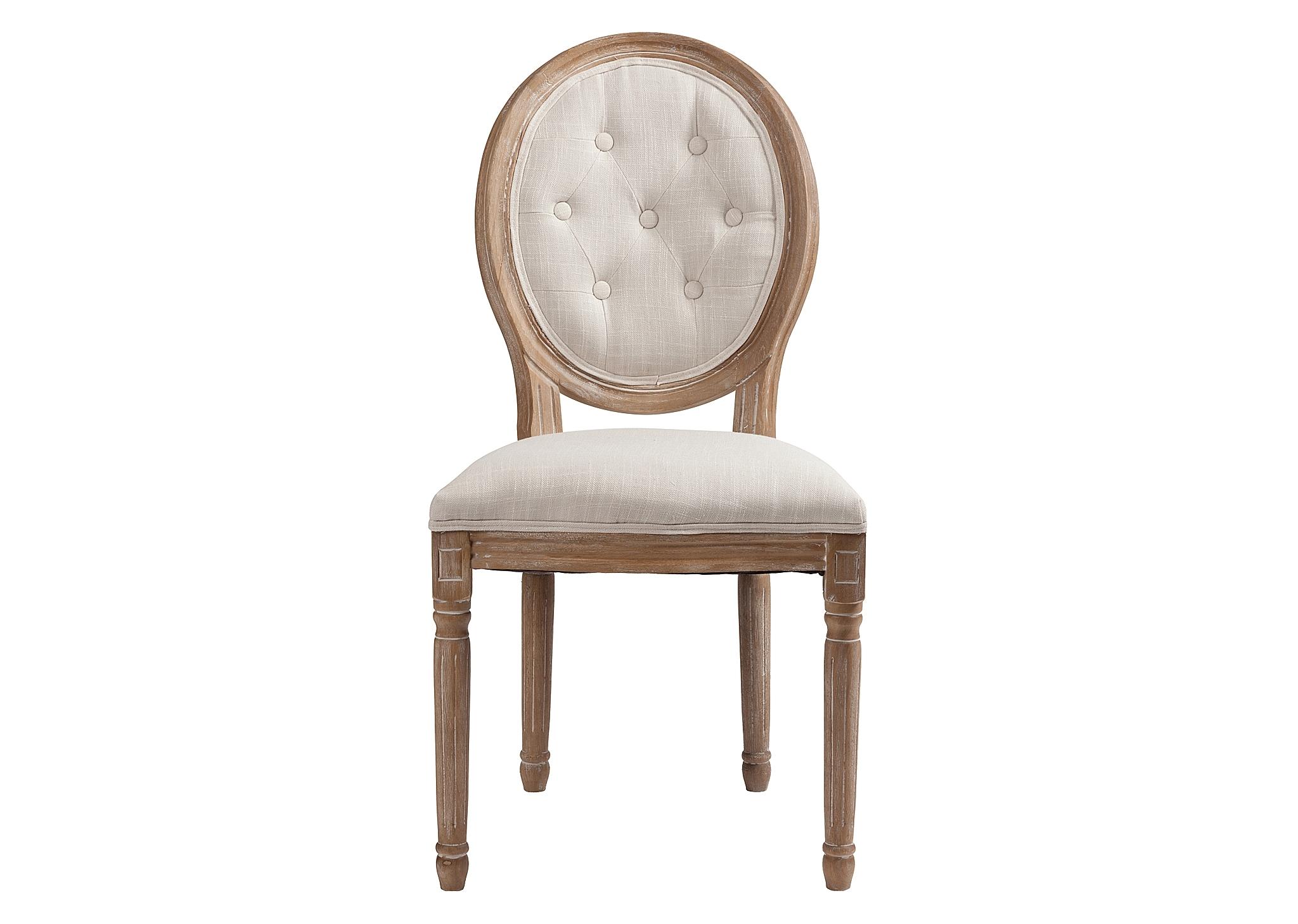 Стул MauriceОбеденные стулья<br>&amp;lt;div&amp;gt;Винтажный стул без подлокотников Maurice идеально подходит для интерьеров в роскошном французском стиле, а также для стилей прованс и шебби-шик. Изящные резные ножки и детали каркаса выточены из древесного массива и искусственно состарены, выбелены, а обивка сиденья и спинки-медальона сшиты из льняной материи снежно-белого оттенка с характерной крупной текстурой.&amp;lt;/div&amp;gt;<br><br>Material: Лен<br>Width см: 50<br>Depth см: 56<br>Height см: 96