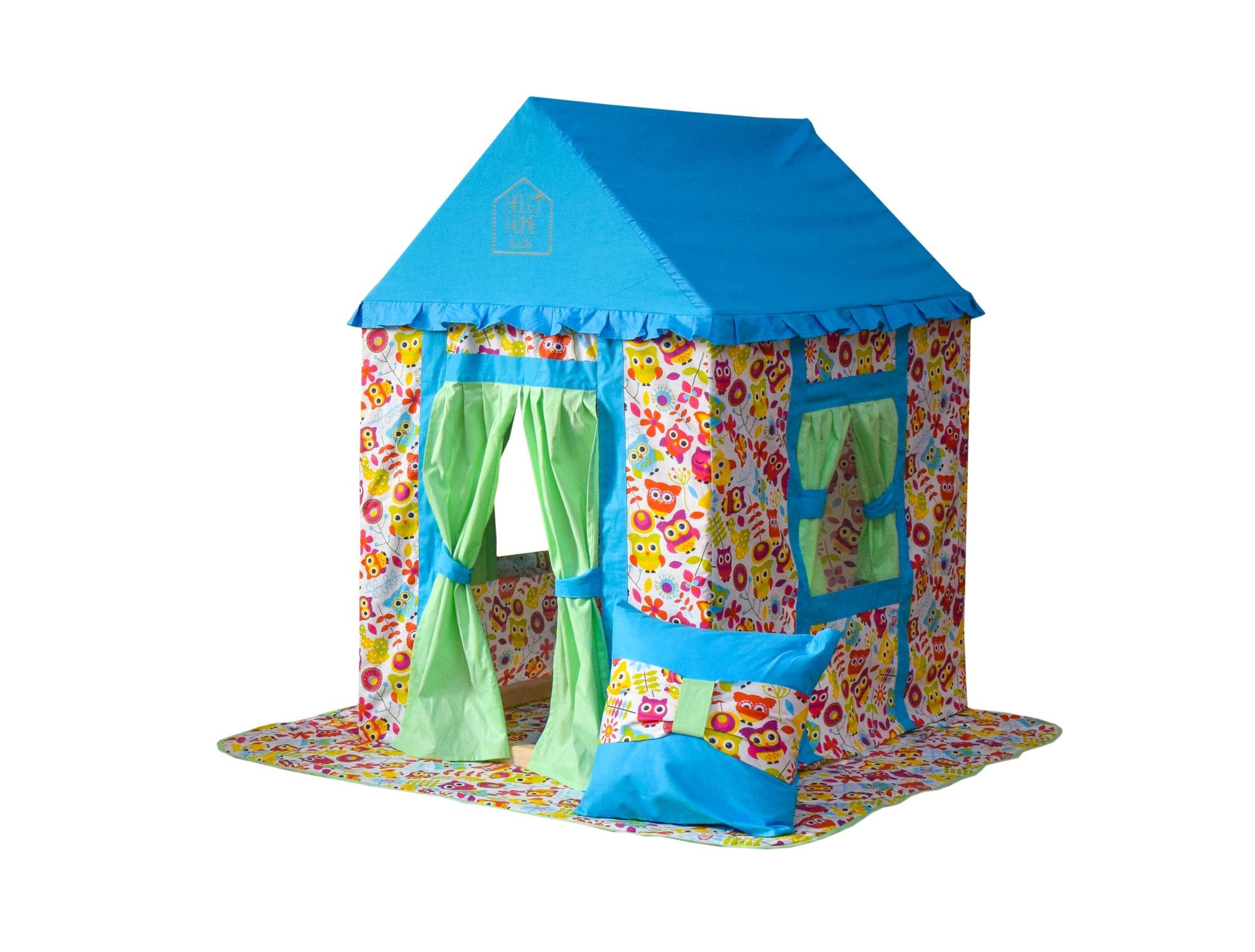 Игровой домик Волшебные совыДетские домики<br>Детский игровой домик «Волшебные совы», создан для озорных девчонок и мальчишек! Непоседливым детишкам не интересны скучные книжки, а именно в таком ярком домике, с волшебными совушками, любая история становится сказочной.&amp;lt;div&amp;gt;Домик выполнен из экологически чистых материалов. Каркас сделан из дерева (сосны), а чехол из 100% хлопка. Сборка этого домика даже проще чем сборка детского конструктора, всё необходимое для установки СПИЛХУС идёт в наборе.&amp;lt;div&amp;gt;Материалы исполнения: сосна, хлопок-100&amp;lt;/div&amp;gt;&amp;lt;/div&amp;gt;<br><br>Material: Сосна<br>Length см: 118<br>Width см: 735<br>Depth см: None<br>Height см: 100