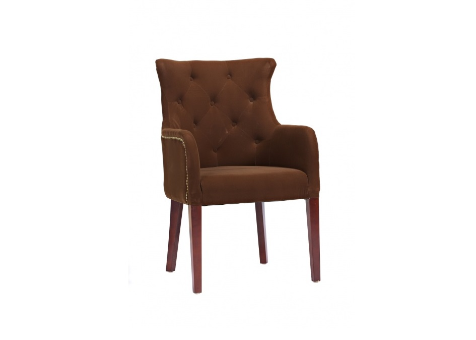 Кресло RochesterИнтерьерные кресла<br>Это кресло – переосмысление классической европейской мебели, знаменитых английских каминных кресел. Да, оно не так массивно, как исторический прототип, но традиционные черты сохранило: ромбовидную стежку пуговицами капитоне, отстрочку мебельными гвоздиками, а также «уши» в верхней части спинки. Зато выглядит современно и больше подходит для компактного городского жилища. Ножки вырезаны из цельного массива, а в качестве обивки используется велюр.<br><br>Material: Текстиль<br>Width см: 65<br>Depth см: 68<br>Height см: 98