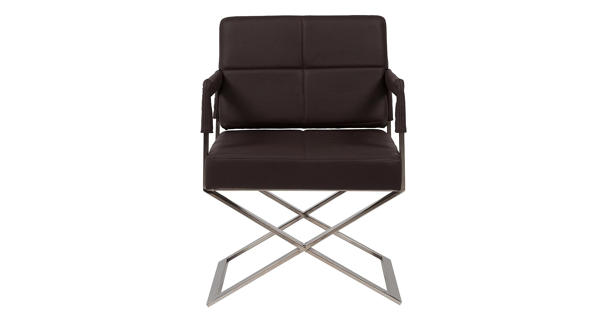 Кресло Aster X ChairИнтерьерные кресла<br>&amp;lt;div&amp;gt;Массивное сиденье, обтянутое коричневой экокожей и украшенное геометричной отстрочкой, и тонкие, невесомые ножки создают ощущение, что кресло парит в воздухе. При этом конструкция твердо стоит на земле: специальный сплав, из которого изготовлены детали каркаса, очень прочен и выдерживает большую нагрузку. Автор этого кресла – именитый французский дизайнер Жан-Мари Массо (Jean-Mari Massaud), прославившийся серией мягкой мебели Airberg и коллекцией для шведского бюро Offekt.&amp;lt;/div&amp;gt;<br><br>Material: Кожа<br>Width см: 60<br>Depth см: 66<br>Height см: 89