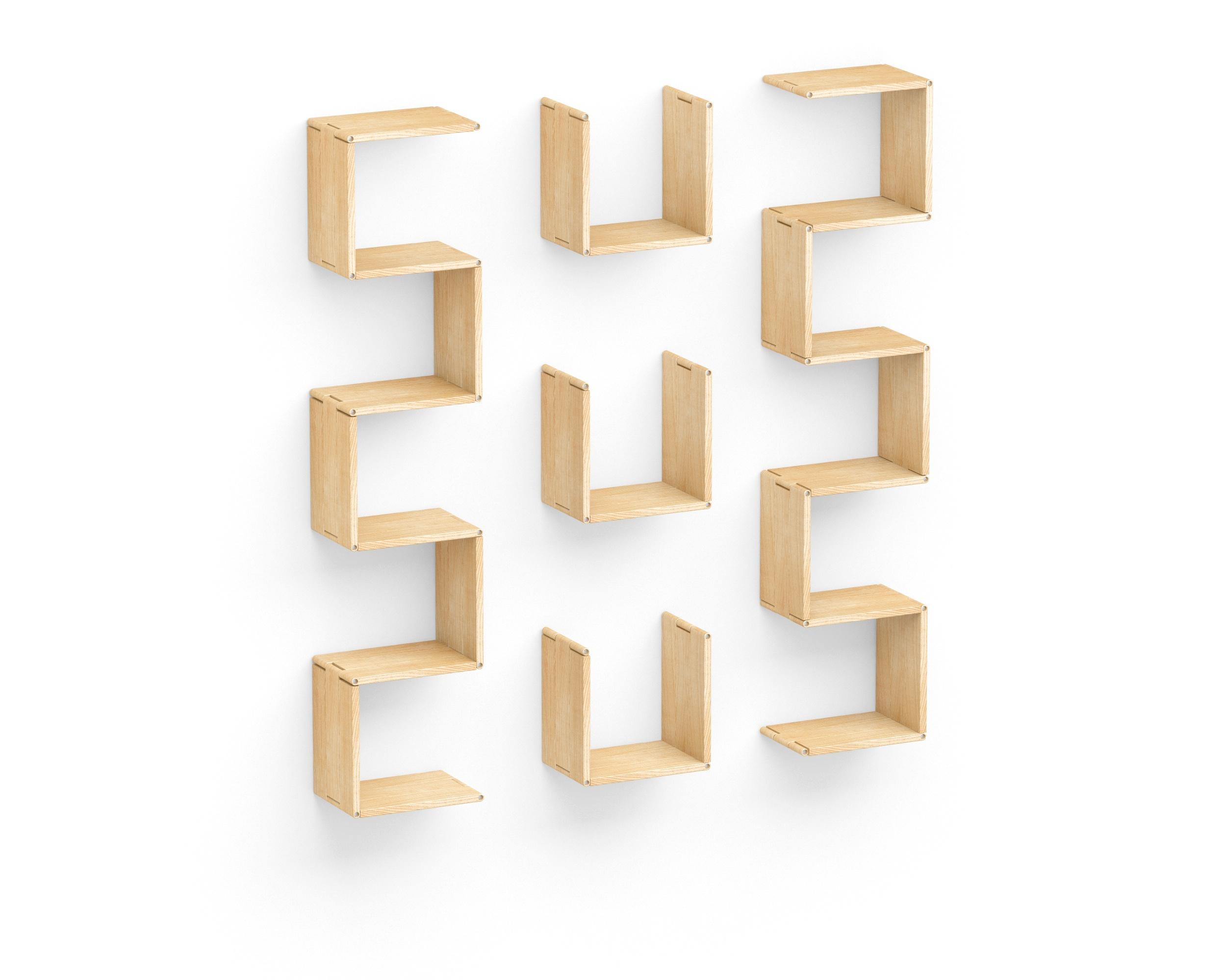 Полка-конструктор Flex Shelf 92Полки<br>цвет: натуральный ясень, красный, оранжевый, зеленый, голубой, сиреневый, белый, черный<br><br>Material: Ясень<br>Width см: 152<br>Depth см: 152<br>Height см: 22