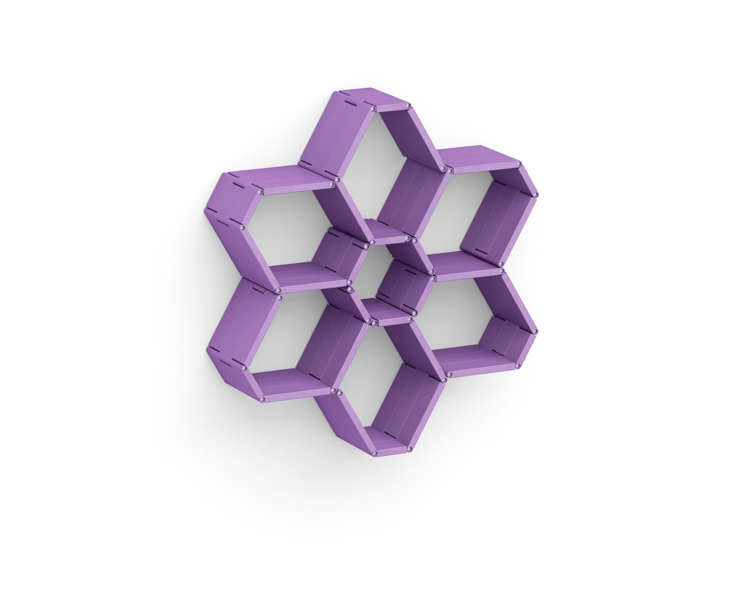 Полка-конструктор LATITUDE Flex Shelf set 119Полки<br>Добавить романтизм и нежность эклектичному оформлению? Нет ничего проще с &amp;quot;Latitude Flex Shelf Set 119&amp;quot;! Оригинальная полка-трансформер, которая принимает форму цветка, сможет преобразить интерьер спальни или гостиной. Конструкция фиалкового цвета привнесет в окружающее пространство частицу изящества и восторженной мечтательности. Эти качества будут контрастно смотреться в ярком дизайне, добавляя ему больше эпатажного очарования.<br><br>Material: Ясень<br>Width см: 86<br>Depth см: 22<br>Height см: 92