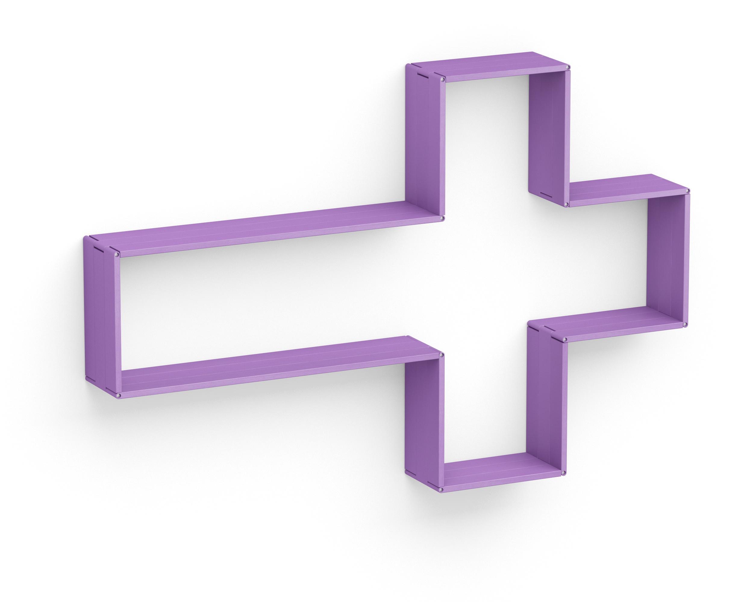 Полка-конструктор LATITUDE Flex Shelf set 105Полки<br>&amp;quot;Latitude Flex Shelf Set 145&amp;quot; ? настоящий простор для фантазии и идеальный предмет интерьера для тех, кто не &amp;quot;наигрался&amp;quot;. Оригинальный конструктор, составленный деревянными прямоугольниками лавандового цвета, не ограничивает вас никакими рамками. Вы можете придать ему те пропорции, которые являются для вас наиболее интересными и лучше всего подходят к окружающему пространству. Стрелка, крест, капля ? попробуйте все эти формы, а при возможности каждый раз меняйте их, чтобы оформление комнаты никогда не наскучило.&amp;amp;nbsp;<br><br>Material: Ясень<br>Width см: 182<br>Depth см: 22<br>Height см: 122