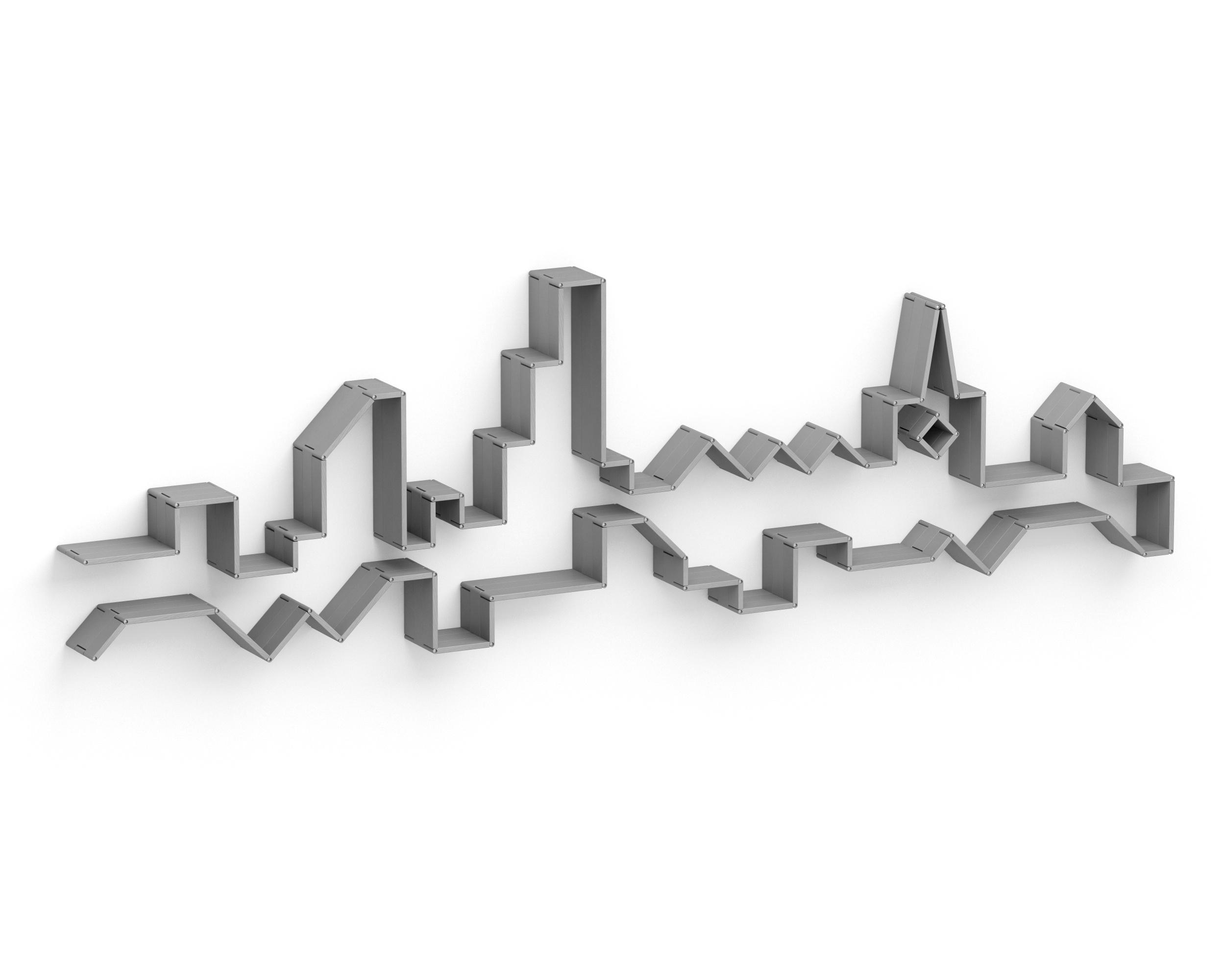 Полка-конструктор LATITUDE Flex Shelf set 181Полки<br>Мегаполис ? это особая красота, которая очаровывает не хуже природной. &amp;quot;Latitude Flex Shelf Set 101&amp;quot; является лучшим тому доказательством. В оригинальных пропорциях полки угадываются очертания городского горизонта, составленного множеством небоскребов. Пусть детали и окрашены в серый цвет, они не привносят в оформление скуку и холодность. Напротив, оригинальный дизайн одаривает пространство теплом... Не приветливостью домашнего уюта, а эклектичным теплом, идеальным для современных интерьеров.1 неделя<br><br>Material: Ясень<br>Width см: 400<br>Depth см: 22<br>Height см: 116