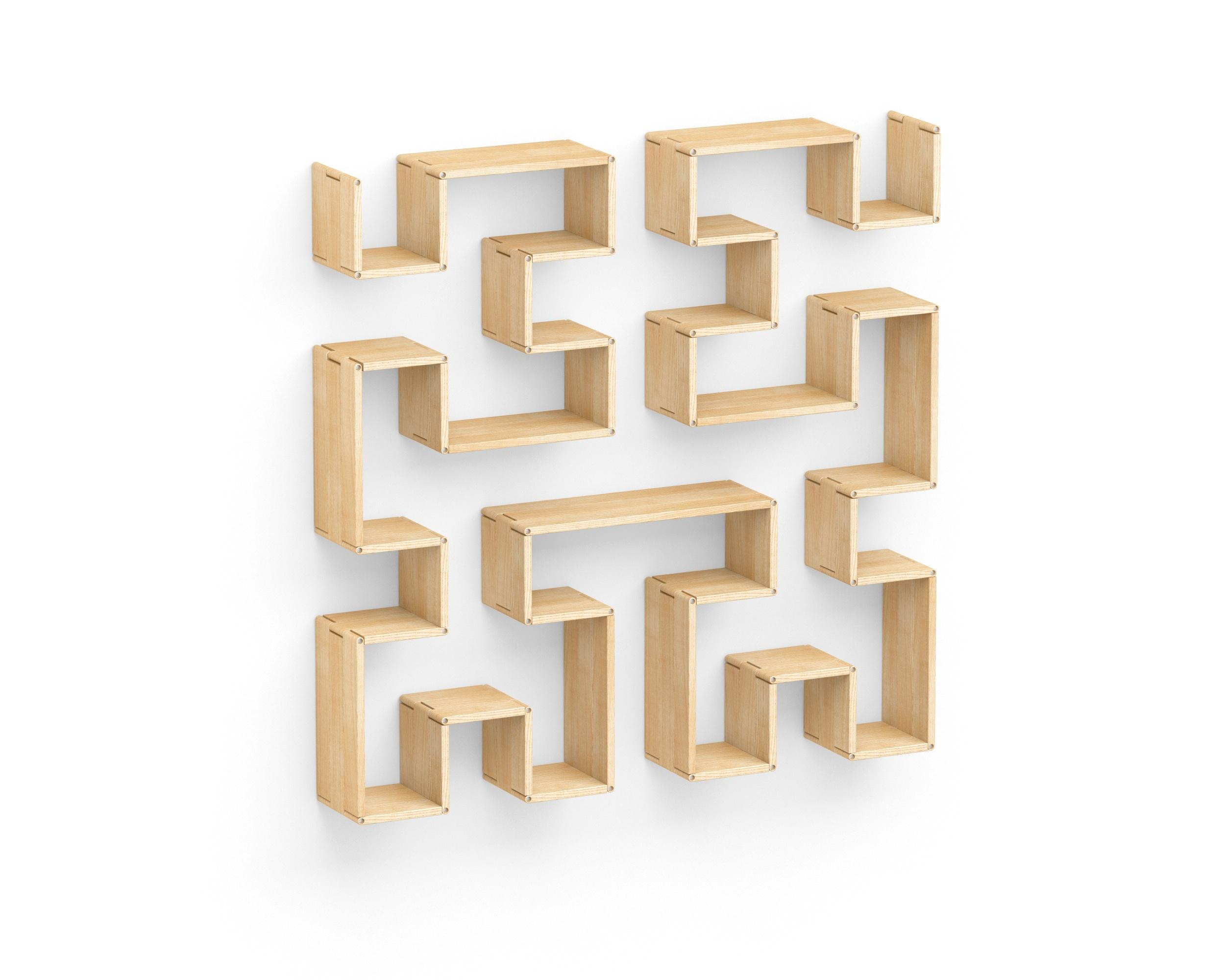 Полка-конструктор LATITUDE Flex Shelf set 175Полки<br>&amp;quot;Latitude Flex Shelf Set 175&amp;quot; ? полка-трансформер, которая произведет впечатление на любителей оригинальных пропорций и головоломок. Именно этот комплект деревянных деталей отлично подходит для составления уникального настенного лабиринта. В его витиеватых проходах кроется очарование современного стиля, наполненного эклектичной элегантностью и натуральной природной красотой. Хорошо, что эти качества никогда не смогут его покинуть, ведь из него нет выхода...<br><br>Material: Ясень<br>Width см: 142<br>Depth см: 22<br>Height см: 142