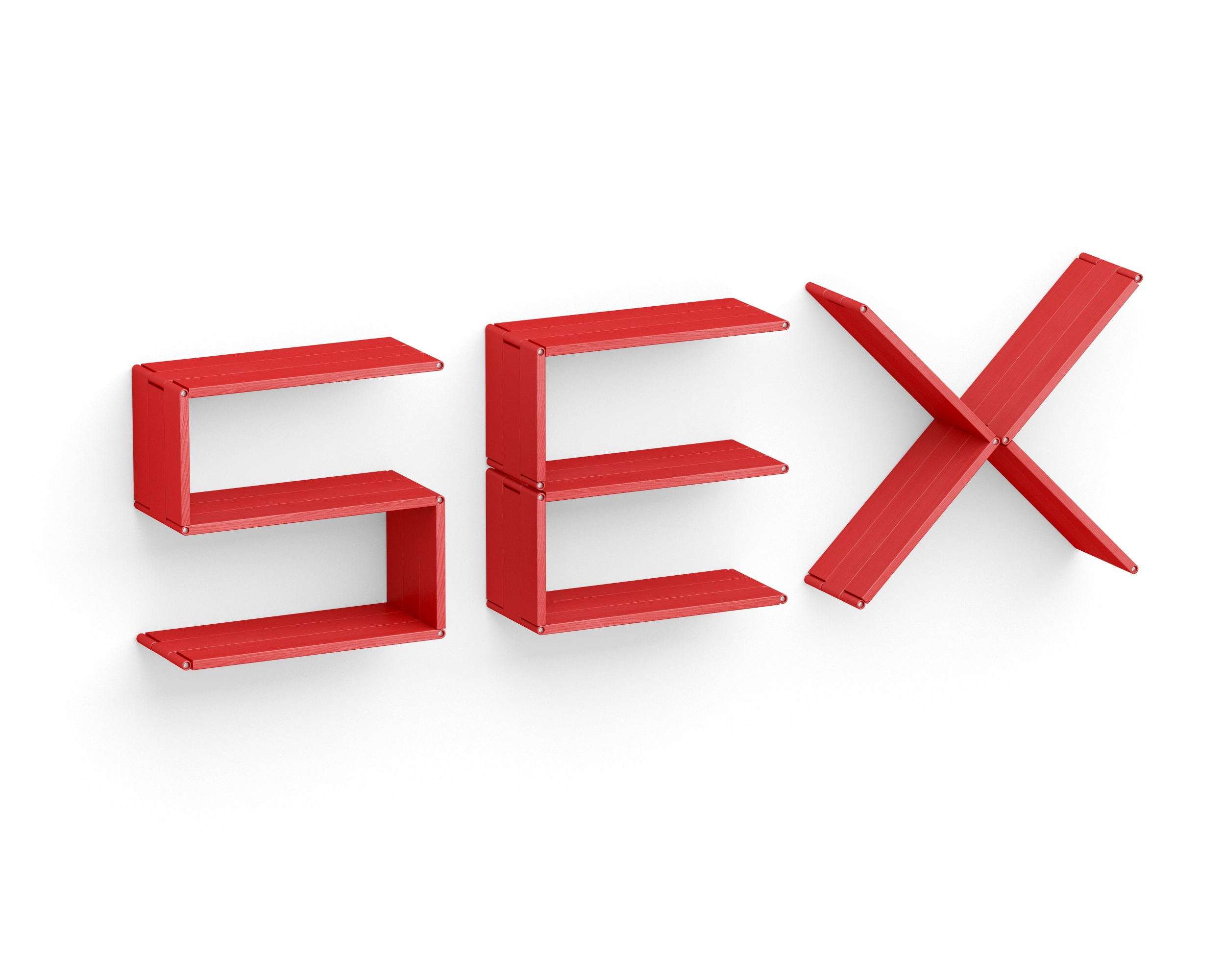 Полка-конструктор LATITUDE Flex Shelf set 151Полки<br>Провокация, смелость, дерзость. Решитесь ли вы на установку полки-трансформера &amp;quot;Latitude Flex Shelf Set 167&amp;quot;, сочетающей в себе все эти качества? Ярко-красная надпись &amp;quot;Sex&amp;quot;, принявшая объемные формы, безусловно, привлечет к себе внимание. В эффектную спальню, современный лаунж или эклектичную гостиную она впишется идеально.<br><br>Material: Ясень<br>Ширина см: 209<br>Высота см: 60<br>Глубина см: 22