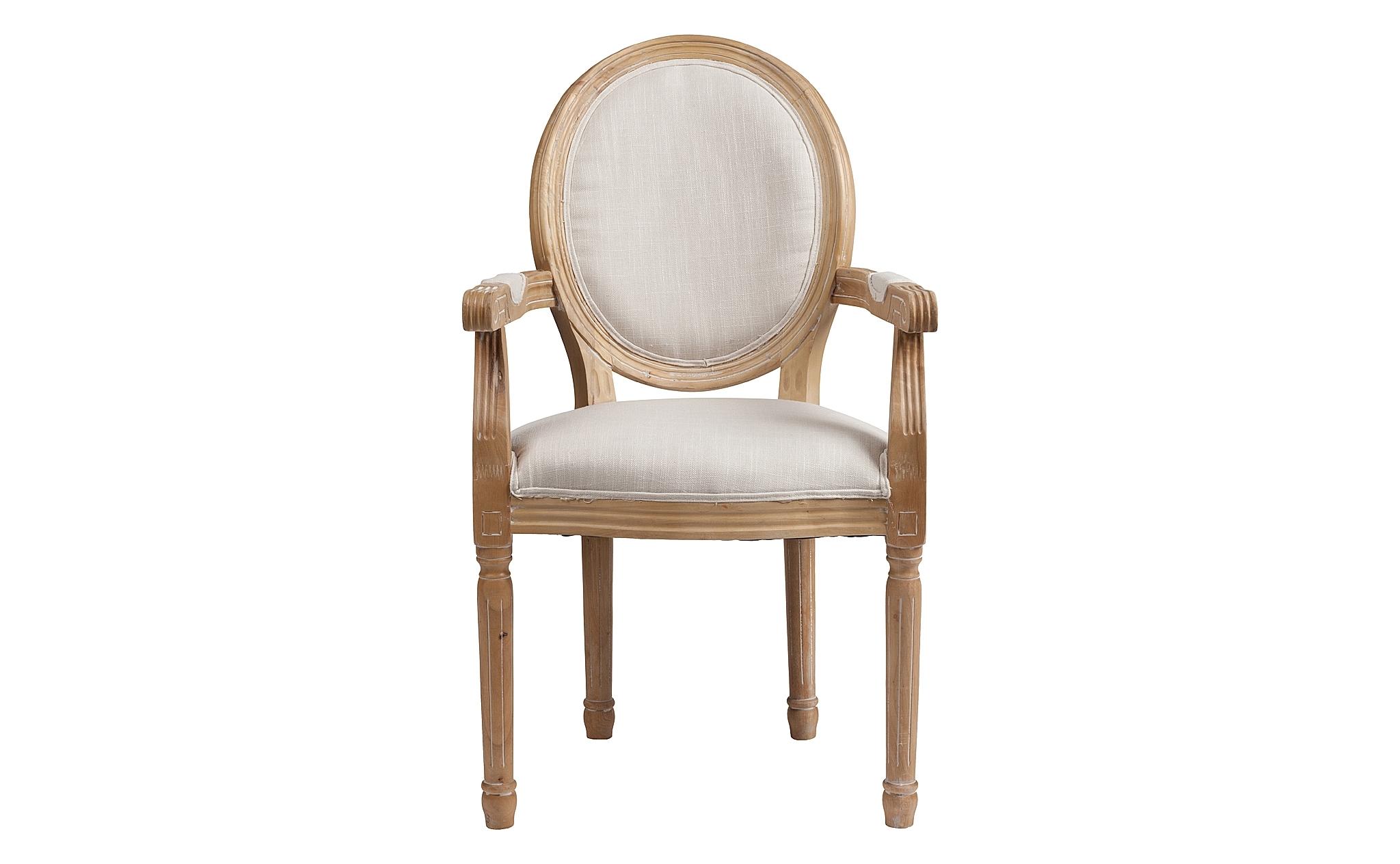 Кресло PollinaСтулья с подлокотниками<br>Медальонное кресло, также известное как Луи XVI, являлось неотъемлемой частью интерьеров эпохи правления Людовика XVI. Именно он ввел в моду его простые и строгие формы, прекрасные в своей гармоничной утонченности. Изготовленные в натуральном буке, они обретают еще больше благородства классического стиля. Обивка из белоснежного текстиля добавляют романтизм прекрасному образу, идеальному для традиционного французского оформления.<br><br>Material: Хлопок<br>Length см: 55<br>Width см: 60<br>Height см: 96