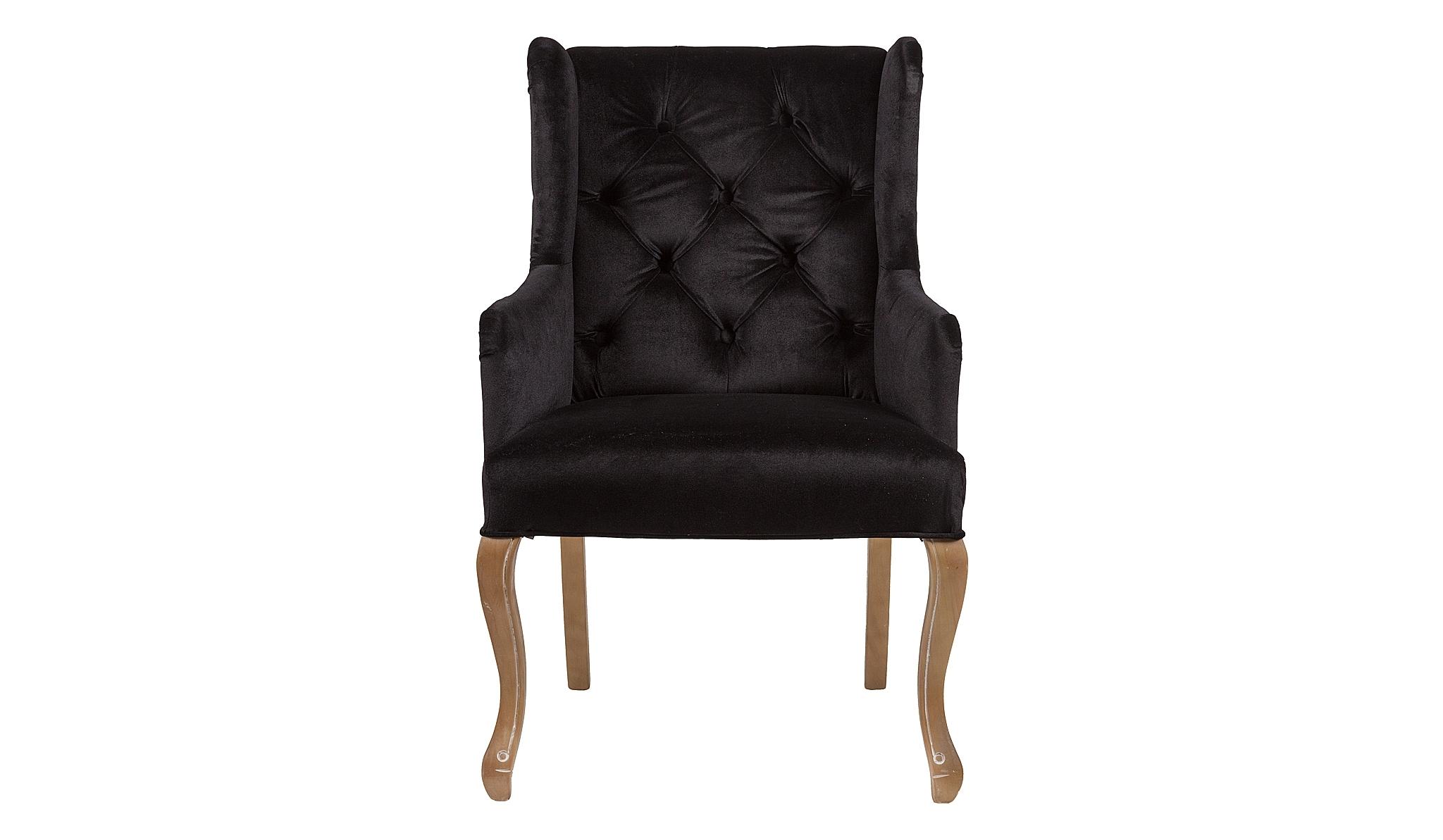 Кресло AshbyПолукресла<br>&amp;quot;Ashby&amp;quot; ? традиционное вольтеровское кресло, выглядящее очень эффектно. Классические пропорции, пропитанные элегантностью волнующих форм, завораживают своим великолепием. Мягкость черного вельвета, переливающегося в лучах света удивительной роскошью, делает облик кресла притягательным. Кокетливо отведенные назад ножки, украшенные резными элементами, выступают еще одной изюминкой традиционного французского дизайна.<br><br>Material: Вельвет<br>Length см: 63<br>Width см: 68<br>Height см: 98