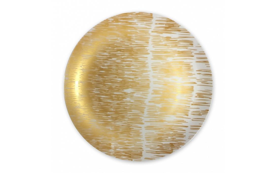 Блюдо Золотые штрихи №1Декоративные блюда<br>Роскошь, богатство, гламур... Это именно то, с чем всегда ассоциировалось золото. Благодаря ему блюдо от Mateo сочетает в себе все эти качества. Золотистые штрихи, в хаотичном танце движущиеся на поверхности белоснежного фарфора, выглядят изысканно и непринужденно. Любой праздничный стол или светский прием в утонченном стиле с сервировкой такой посудой станет гораздо элегантнее.<br><br>Material: Фарфор
