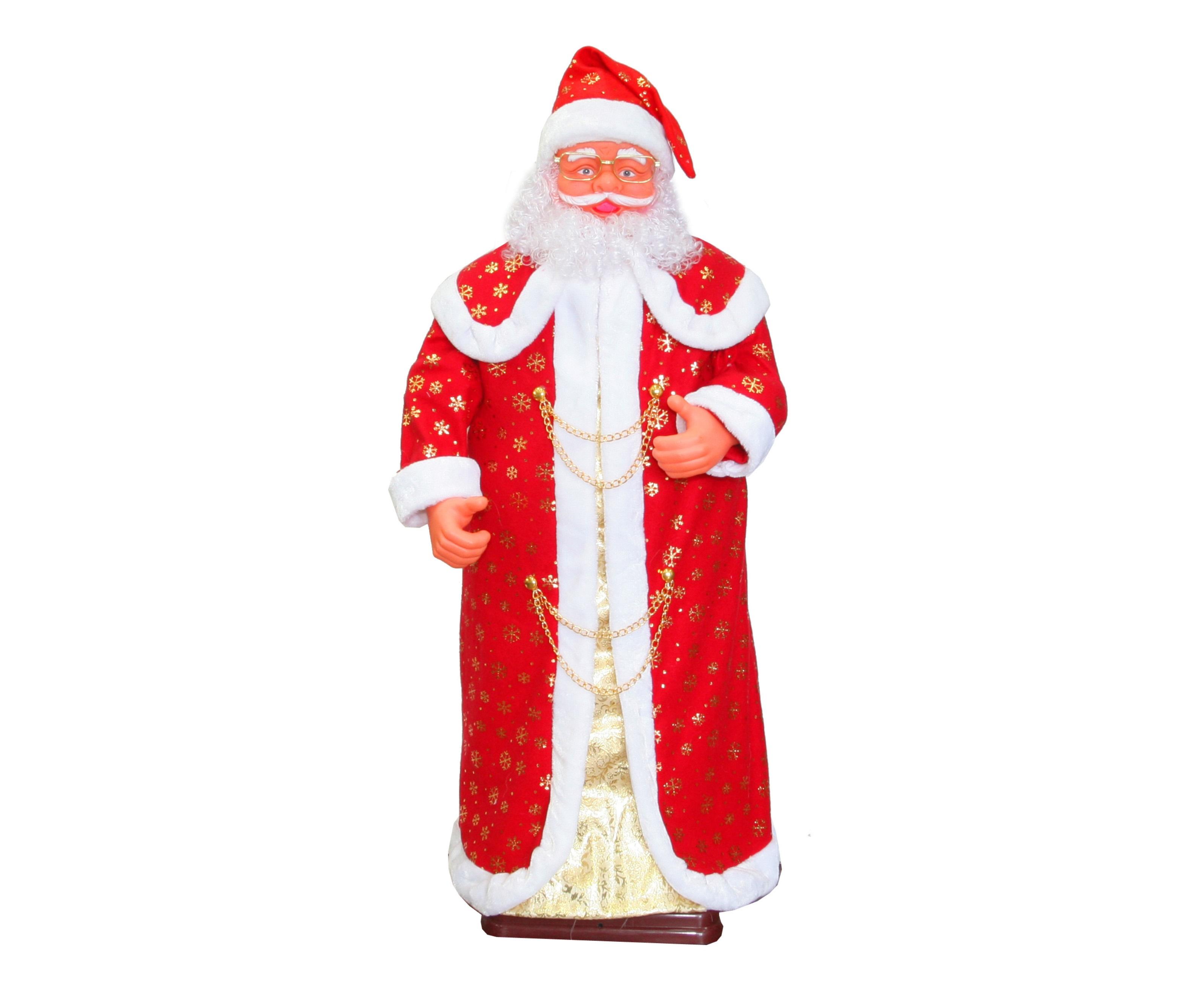 Дед МорозДругое<br>&amp;lt;div&amp;gt;Самый долгожданный праздник не мыслим без всеми любимого сказочного персонажа. Механическая фигура Деда Мороза сделает любой интерьер по-настоящему волшебным. Для детей этот предмет станет лучшим развлечением. Новогодний гость порадует всех забавным танцем и песенкой &amp;quot;В лесу родилась елочка&amp;quot;.&amp;lt;br&amp;gt;&amp;lt;/div&amp;gt;&amp;lt;div&amp;gt;&amp;lt;br&amp;gt;&amp;lt;/div&amp;gt;&amp;lt;div&amp;gt;Вид электропитания: от сети 220 В через низковольтный адаптер (в комплекте).&amp;lt;/div&amp;gt;&amp;lt;div&amp;gt;Количество штук в коробе: 1&amp;lt;/div&amp;gt;&amp;lt;div&amp;gt;Объём короба, куб. м: 0,14&amp;lt;/div&amp;gt;&amp;lt;div&amp;gt;Вес короба, кг: 9,0&amp;lt;/div&amp;gt;&amp;lt;div&amp;gt;Соник-контроль (включается от шумового воздействия).&amp;lt;/div&amp;gt;<br><br>Material: Текстиль<br>Height см: 150