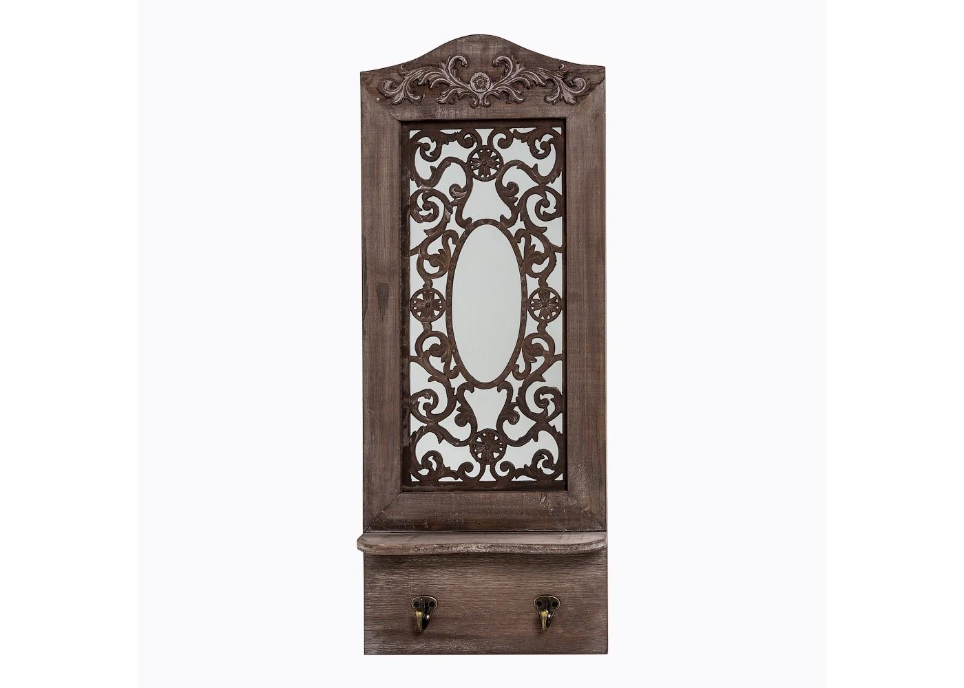 Настенное зеркало «Авиньон» (шоколадный антик)Настенные зеркала<br>&amp;quot;Авиньон&amp;quot; ? оригинальный декор, изюминка которого заключается в ювелирном исполнении романтичного орнамента. Выполненный на зеркальной поверхности, он удваивает свою элегантность, которая будто становится осязаемой благодаря отражению. Благородство патинированной натуральной ели, ее уникальная фактура и богатая палитра, добавляют декору винтажный шарм. А дополнения в виде двух золотистых крючков и аккуратной полочки ? функциональность, которая не будет лишней ни в одном интерьере.&amp;lt;div&amp;gt;&amp;lt;br&amp;gt;&amp;lt;/div&amp;gt;&amp;lt;div&amp;gt;Размер: 28?70?9 см.&amp;lt;/div&amp;gt;&amp;lt;div&amp;gt;Вес: 2 кг.&amp;lt;/div&amp;gt;<br><br>Material: Дерево<br>Width см: 20<br>Depth см: 9<br>Height см: 70