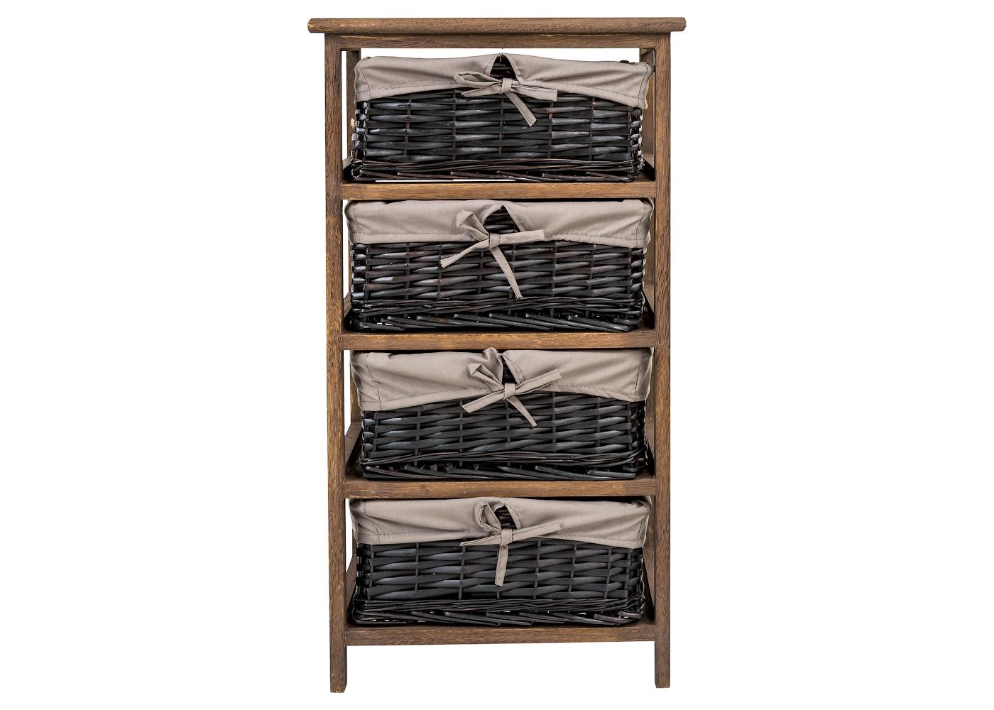 Стеллаж с четырьмя корзинами «Дижон»Стеллажи и этажерки<br>Стеллаж &amp;quot;Дижон&amp;quot; эффектно и органично впишется в интерьеры, тяготеющие к естественной природной красоте. В пространствах этно, эко или прованского стиля его функциональная конструкция будет на своем месте. Великолепная древесная фактура поможет добавить комнате естественности.&amp;lt;div&amp;gt;&amp;lt;br&amp;gt;&amp;lt;/div&amp;gt;&amp;lt;div&amp;gt;Материал: дерево павловния (адамовое дерево).&amp;lt;/div&amp;gt;&amp;lt;div&amp;gt;Вес: 3,9 кг.&amp;lt;/div&amp;gt;<br><br>Material: Дерево<br>Length см: None<br>Width см: 40<br>Depth см: 29<br>Height см: 73