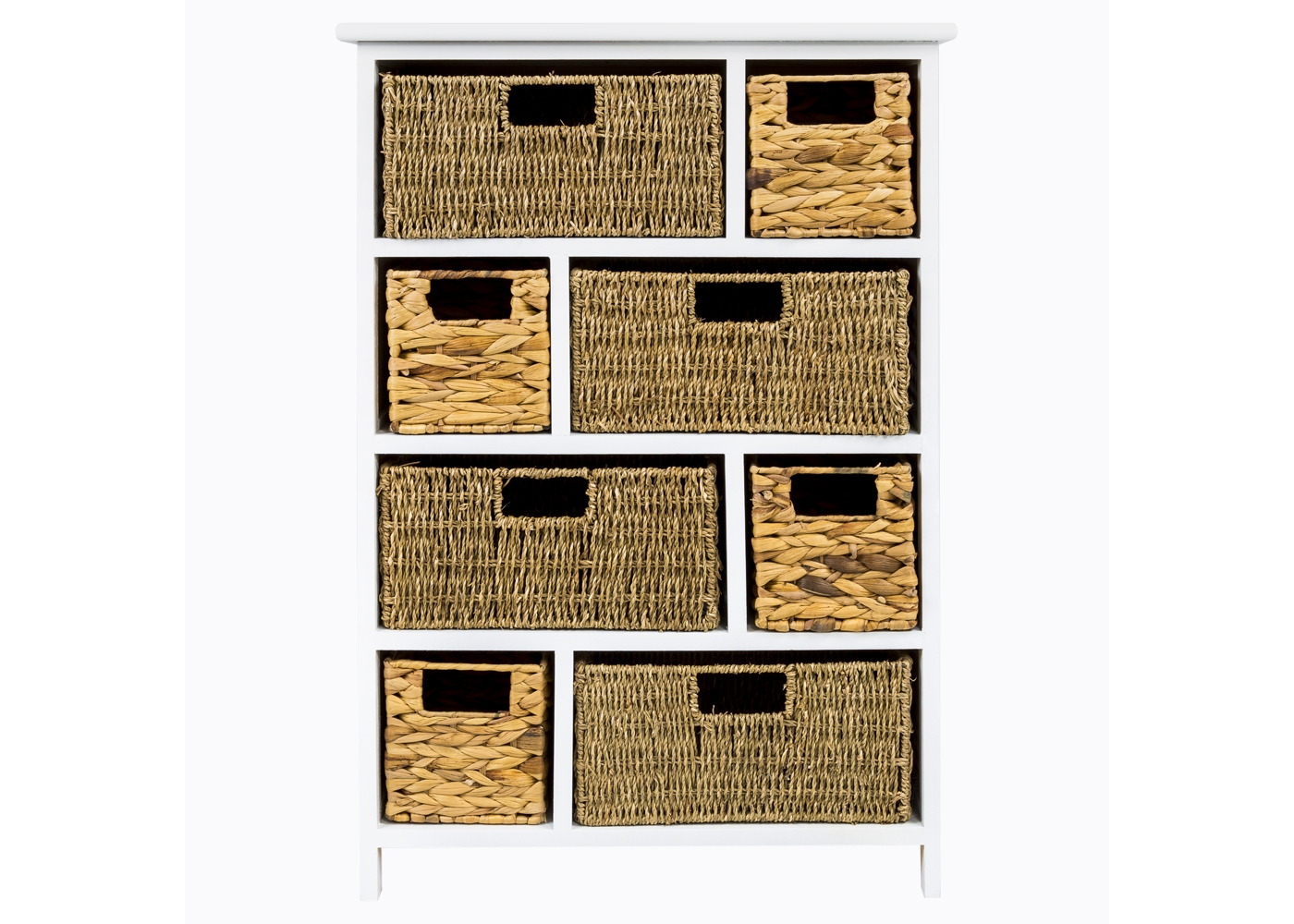 Стеллаж с восемью корзинами «Берже»Стеллажи и этажерки<br>&amp;lt;div&amp;gt;Стеллаж &amp;quot;Берже&amp;quot; - идеальный домашний органайзер для современной респектабельной хозяйки. С приобретением этого удобного, эстетичного и уютного предмета Ваши домашние предметы обретут идеальный порядок, никогда не затеряются и будут всегда под рукой. Натуральная цветовая гамма корзин уютна и тепла, идеально гармонирует с белым лакированным корпусом этажерки. Винтажный мотив комода, исполненный новейшими технологиями, сближает ретро и современность, унифицирует стилистический статус дизайна. Классический белый цвет - залог соседства с большинством предметов мебели и декора. Любое помещение, наряженное белой мебелью, обретает имидж чистоты, простора и парадности. Корзины снабжены широкими, удобными в обращении ручками. Используйте стеллаж для хранения столового текстиля и приборов, белья, хозяйственных принадлежностей, моющих средств, а также корнеплодов и овощей. Дизайн стеллажа равноправен в городской квартире и загородном доме. Габариты удобны для кухни, коридора, лоджии или балкона. Украсьте стеллаж живыми цветами, декоративным текстилем или интерьерными аксессуарами. Стеллаж выполнен из натурального дерева. Пользоваться им - истинное удовольствие. Достоинством натурального дерева павловнии (&amp;quot;адамового дерева&amp;quot;) является легкость. В основном павловния применяется для производства музыкальных инструментов. Это свидетельствует о её стойкости к сырости.&amp;amp;nbsp;&amp;lt;/div&amp;gt;&amp;lt;div&amp;gt;&amp;lt;br&amp;gt;&amp;lt;/div&amp;gt;&amp;lt;div&amp;gt;Вес: 9,75 кг&amp;lt;/div&amp;gt;<br>&amp;lt;iframe width=&amp;quot;530&amp;quot; height=&amp;quot;360&amp;quot; src=&amp;quot;https://www.youtube.com/embed/NLEdoVygKVQ&amp;quot; frameborder=&amp;quot;0&amp;quot; allowfullscreen=&amp;quot;&amp;quot;&amp;gt;&amp;lt;/iframe&amp;gt;<br><br>Material: Дерево<br>Length см: None<br>Width см: 56<br>Depth см: 34<br>Height см: 80