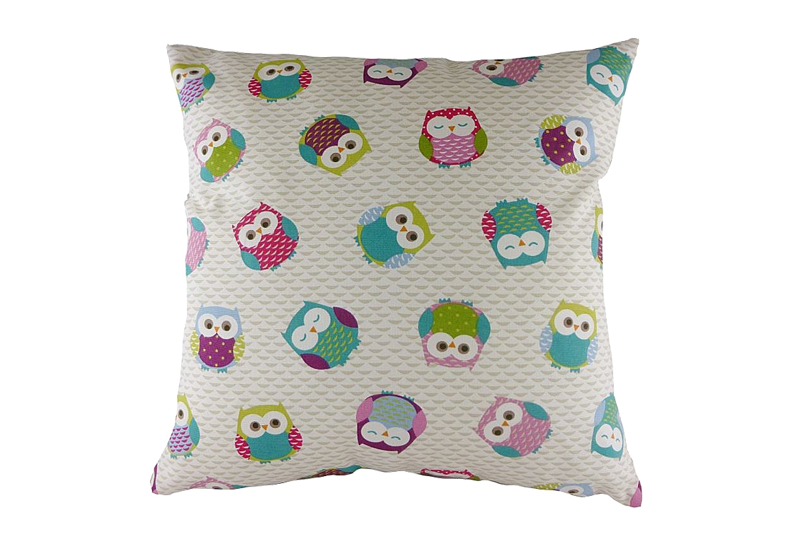 Подушка с принтом Owl Print PinkКвадратные подушки и наволочки<br>Белая декоративная подушка с изображением разноцветных забавных сов. Такая подушка отлично дополнит детскую вашего ребенка. Хорошо поддерживает спину и поможет расслабиться. Подушка также будет отличным сувениром и оригинальным подарком.<br><br>Material: Хлопок<br>Ширина см: 43<br>Высота см: 43<br>Глубина см: 10