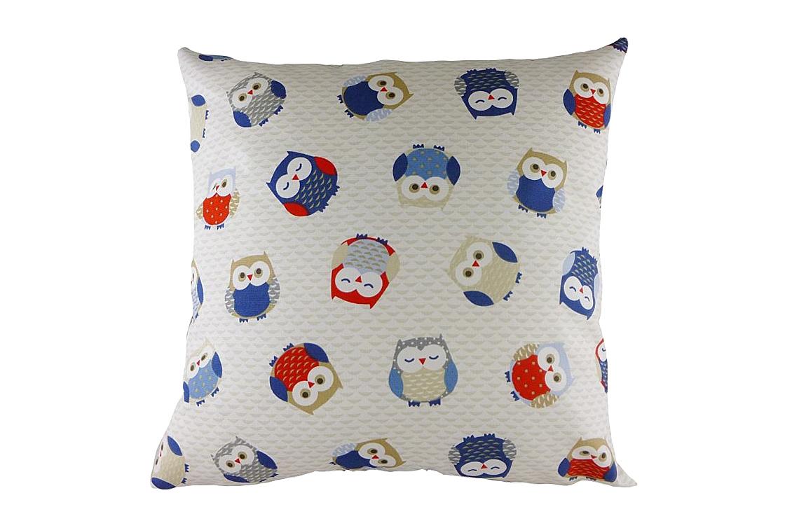 Подушка с принтом Owl Print BlueКвадратные подушки и наволочки<br>Белая декоративная подушка с изображением разноцветных забавных сов. Такая подушка отлично дополнит детскую вашего ребенка. Хорошо поддерживает спину и поможет расслабиться. Подушка также будет отличным сувениром и оригинальным подарком.<br><br>Material: Хлопок<br>Width см: 43<br>Depth см: 10<br>Height см: 43