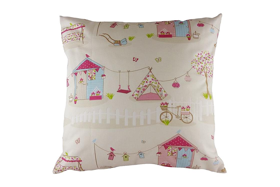 Подушка с принтом Summer Holiday PinkКвадратные подушки<br>Бежевая декоративная подушка с изображением разноцветных атрибутов летнего отдыха — домика, палатки, велосипеда, качелей. Хорошо поддерживает спину и поможет расслабиться. Подушка также будет отличным сувениром и оригинальным подарком. Подарите себе и близким летнее настроение!<br><br>Material: Хлопок<br>Width см: 43<br>Depth см: 10<br>Height см: 43