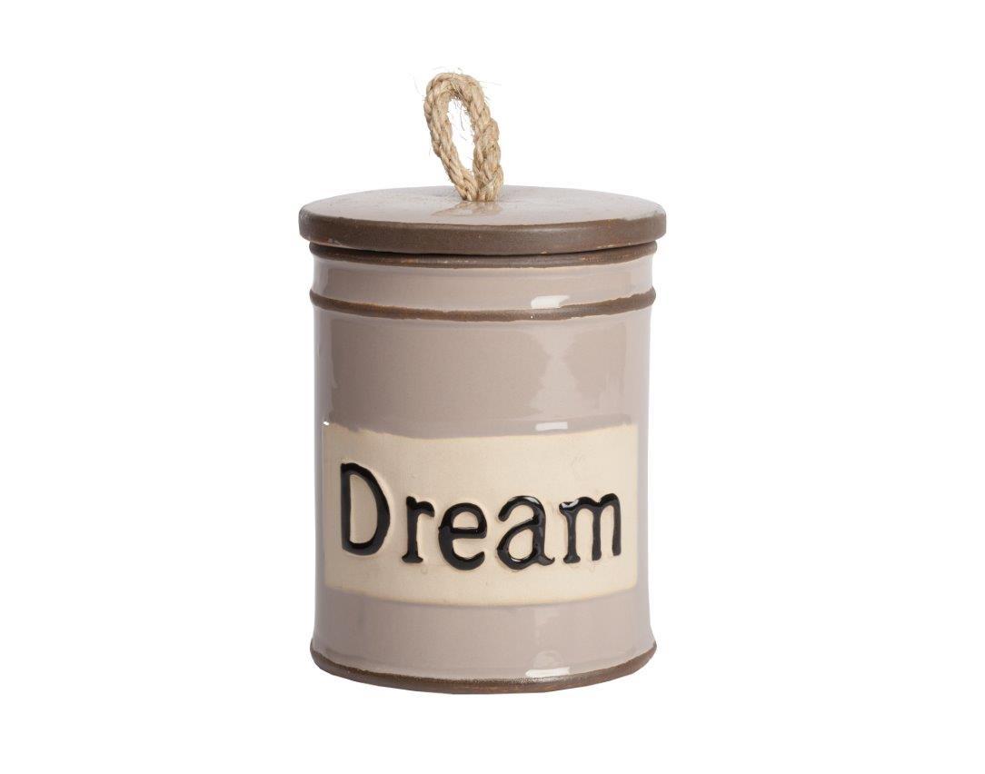 Емкость для хранения DreamЕмкости для хранения<br>Ёмкость для хранения Dream — это оригинальный, современный и стильный предмет декорирования кухни, который непременно придется по вкусу каждой хозяйке. Банка имеет весьма простую форму, однако детали — надпись на поверхности Dream (Мечтать) и ручка на крышке из бечевки — придают особый шарм аксессуару. Ёмкость идеально подходит как для украшения помещения, так и для хранения сыпучих продуктов питания, специй и круп.<br><br>Material: Керамика<br>Height см: 18<br>Diameter см: 14