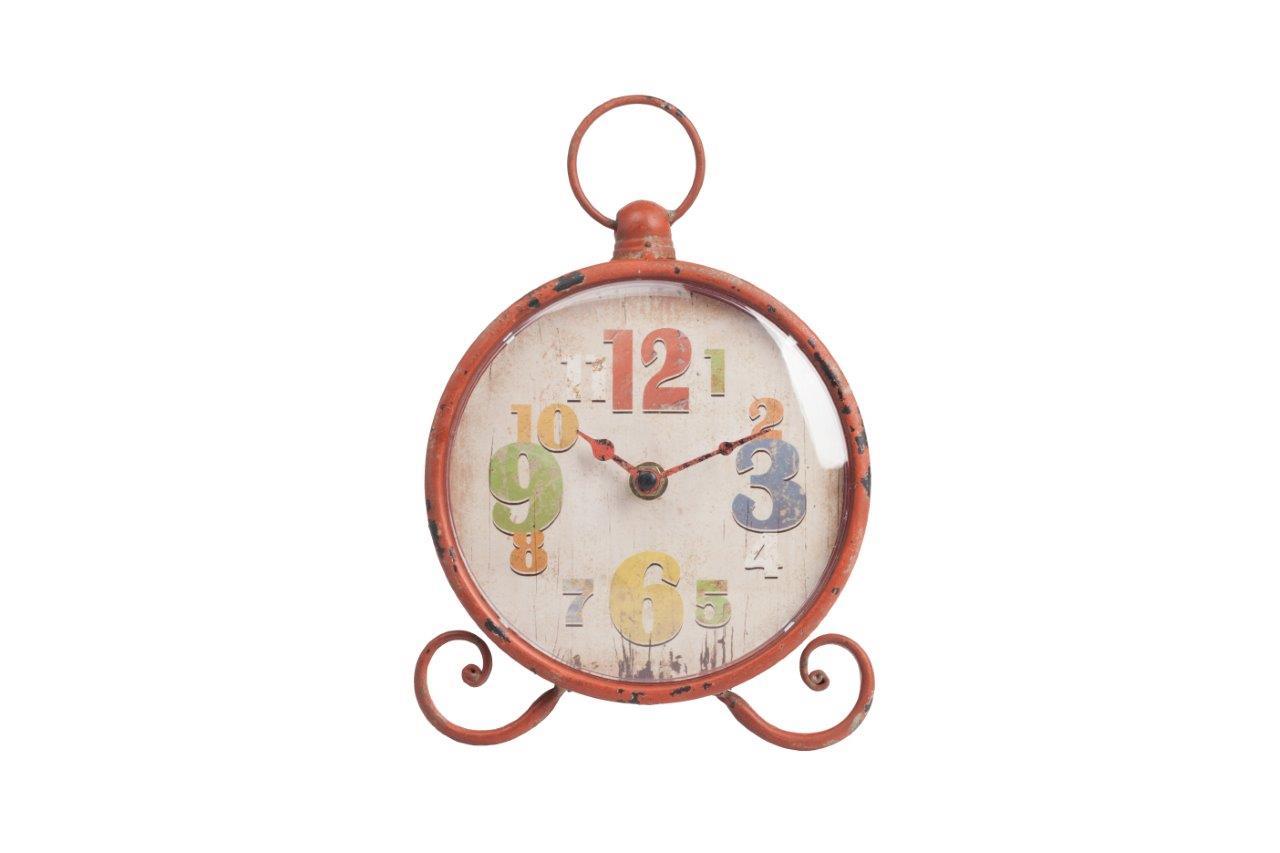 Настольные часы Lumiere OrangeНастольные часы<br>Настольные часы Lumiere Orange — круглой формы на ножках, в виде завитков, сверху вмонтировано кольцо, имеют оригинальный вид. Благодаря оранжевому, немного состаренному корпусу и необычному декору циферблата, в виде разных по величине и цвету цифр, забавный аксессуар непременно впишется в общую картину помещения и будет вызывать улыбку. Выберите часы из коллекции Lumiere любого из четырех цветов — голубого, оранжевого, жёлтого, зелёного.<br><br>Material: Железо<br>Length см: 18<br>Width см: 17<br>Height см: /23