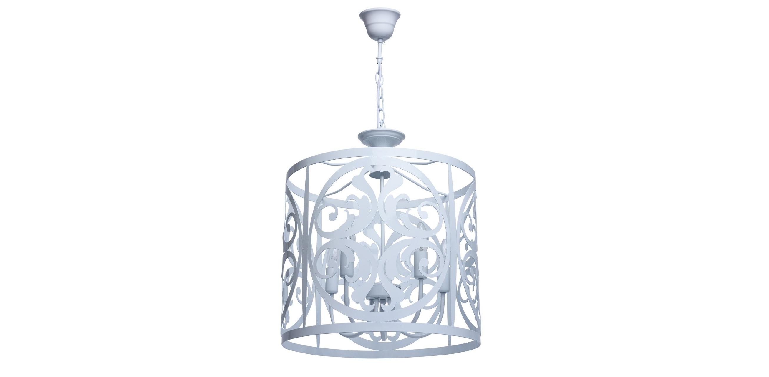 Подвесной светильникПодвесные светильники<br>&amp;lt;div&amp;gt;Нежный, воздушный светильник из коллекции «Замок» привнесет в обстановку непринужденность и изящность. &amp;amp;nbsp;Он выполнен в стиле легкой ковки и идеально подойдет для любителей оригинальных решений в интерьере. &amp;amp;nbsp;Металлическое основание окрашено в глянцевый белый цвет, освежающий комнату. Трендовый дизайн светильника подчеркнут &amp;amp;nbsp;изящным резным узором, плавные линии и изгибы которого настраивают на спокойствие и создают уют. Рекомендуемая площадь освещения – 15 кв.м.&amp;lt;/div&amp;gt;&amp;lt;div&amp;gt;Арматура светильника выполнена из сплава металла &amp;amp;nbsp;и окрашена в белый глянцевый цвет. Орнамент вырублен по технологии лазерной резки.&amp;lt;/div&amp;gt;&amp;lt;div&amp;gt;5*60W E14 220V&amp;lt;/div&amp;gt;<br><br>Material: Металл<br>Length см: 130<br>Height см: 130<br>Diameter см: 45