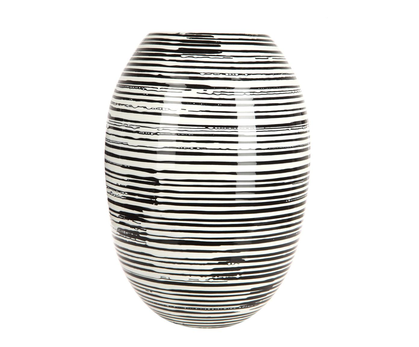 Ваза декоративнаяВазы<br>Контрастная монохромная ваза с нанесенными на нее будто от руки концентрическими кругами выполнена из керамики с глянцевой глазуровкой. Благодаря простой форме и универсальной расцветке она органично дополнит интерьер в самых разных стилях: от этно до минимализма.<br><br>Material: Керамика<br>Width см: None<br>Height см: 36,5<br>Diameter см: 26