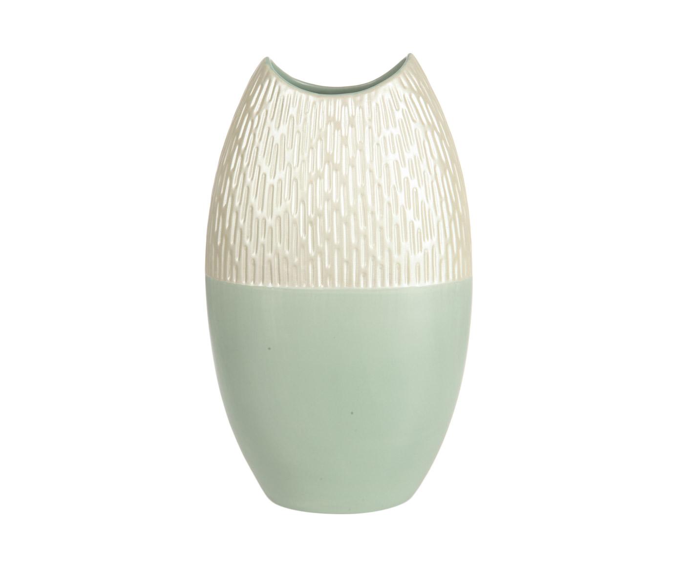 Ваза декоративнаяВазы<br>Эта коллекция от Farol включает декоративные вазы разных оттенков, форм и размеров. Объединяет их условное деление изделия на две части, покрытые разной глазуровкой: жемчужно-белый верх с выдавленным узором и напоминающий плотное матовое стекло низ. В этой вазе нижняя часть имеет нежный оттенок мятной пастели.<br><br>Material: Керамика<br>Ширина см: 12<br>Высота см: 40