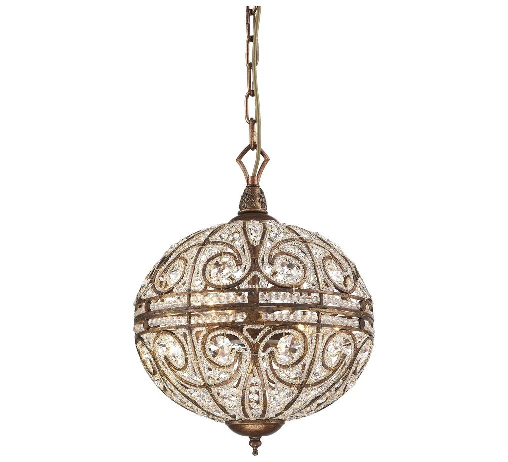 Подвесной светильникПодвесные светильники<br>Материал: металл+хрусталь K9<br>Лампочки: 6*40W <br>Цоколь: E14<br>Цвет: испанская бронза<br><br>Material: Металл<br>Высота см: 80