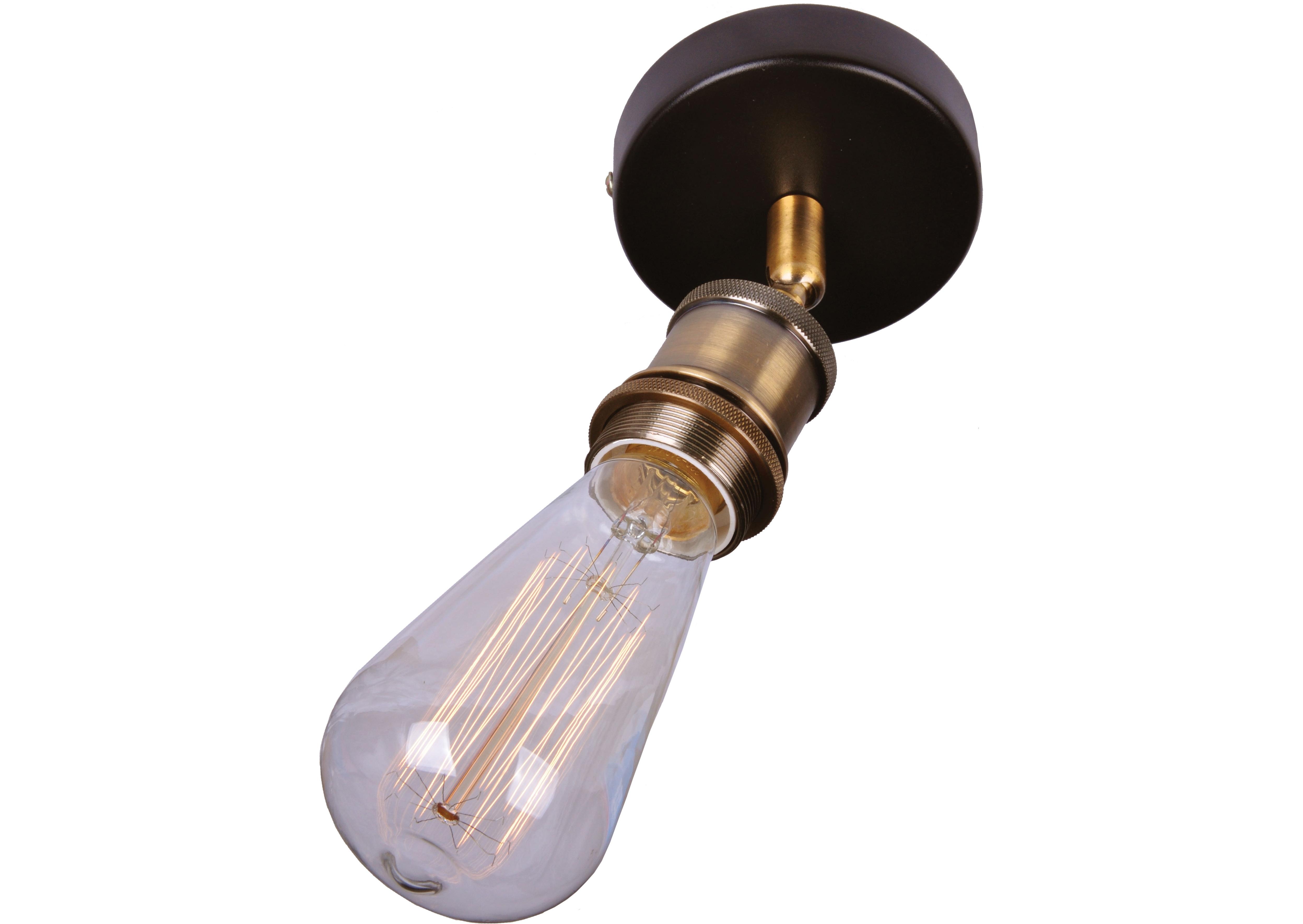 Потолочный светильникПотолочные светильники<br>Материал: металл<br>Лампочки в комплекте: 1*60W<br>Цоколь: E27<br>Цвет: черный, латунь<br><br>Material: Металл<br>Width см: 12<br>Height см: 17<br>Diameter см: 10