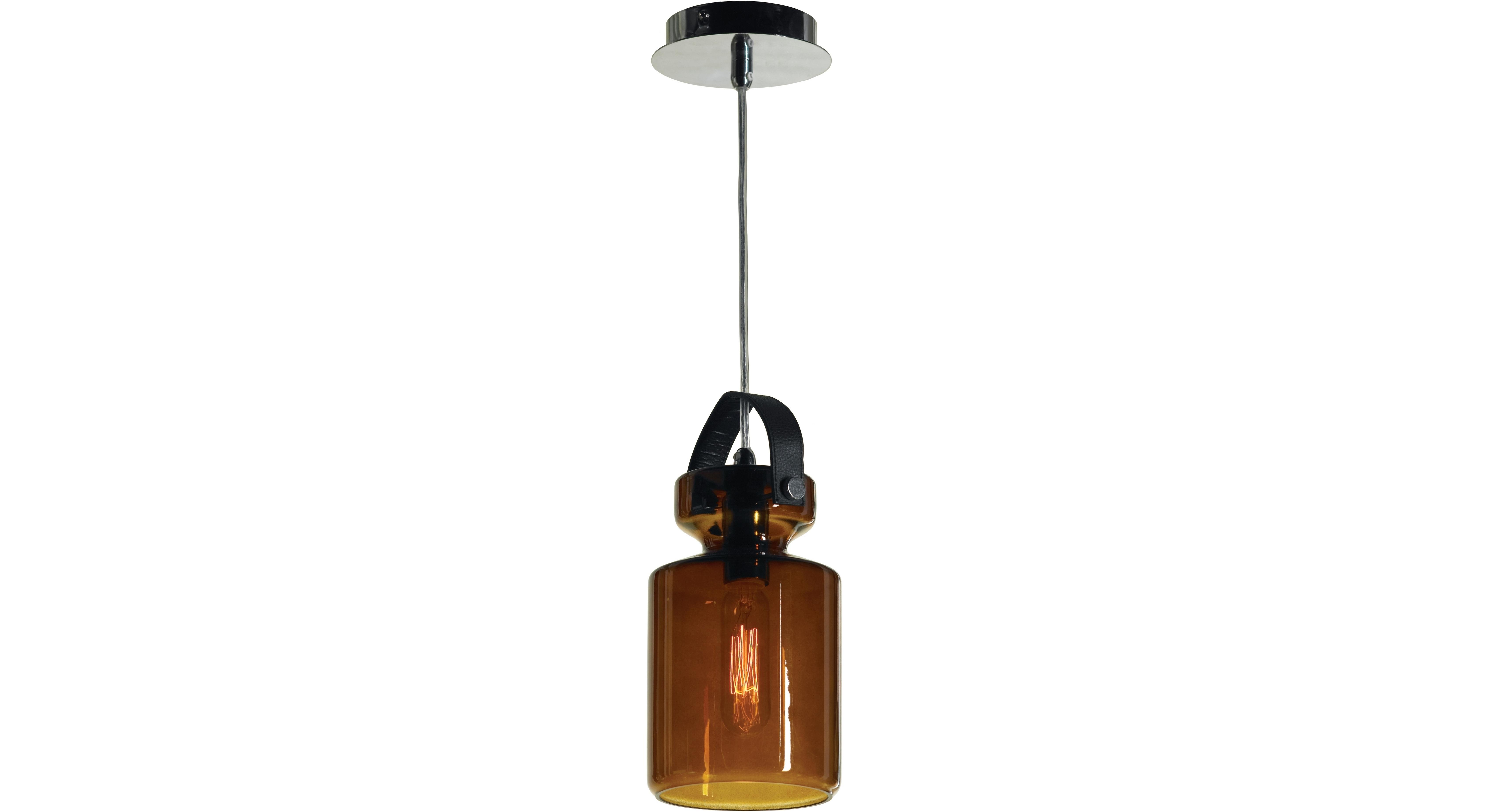 Подвесной светильникПодвесные светильники<br>Материал: металл<br>Лампа: 1*40W<br>Цоколь: E14<br>Цвет: хром, коричневое стекло<br><br>Material: Металл<br>Height см: 140<br>Diameter см: 13