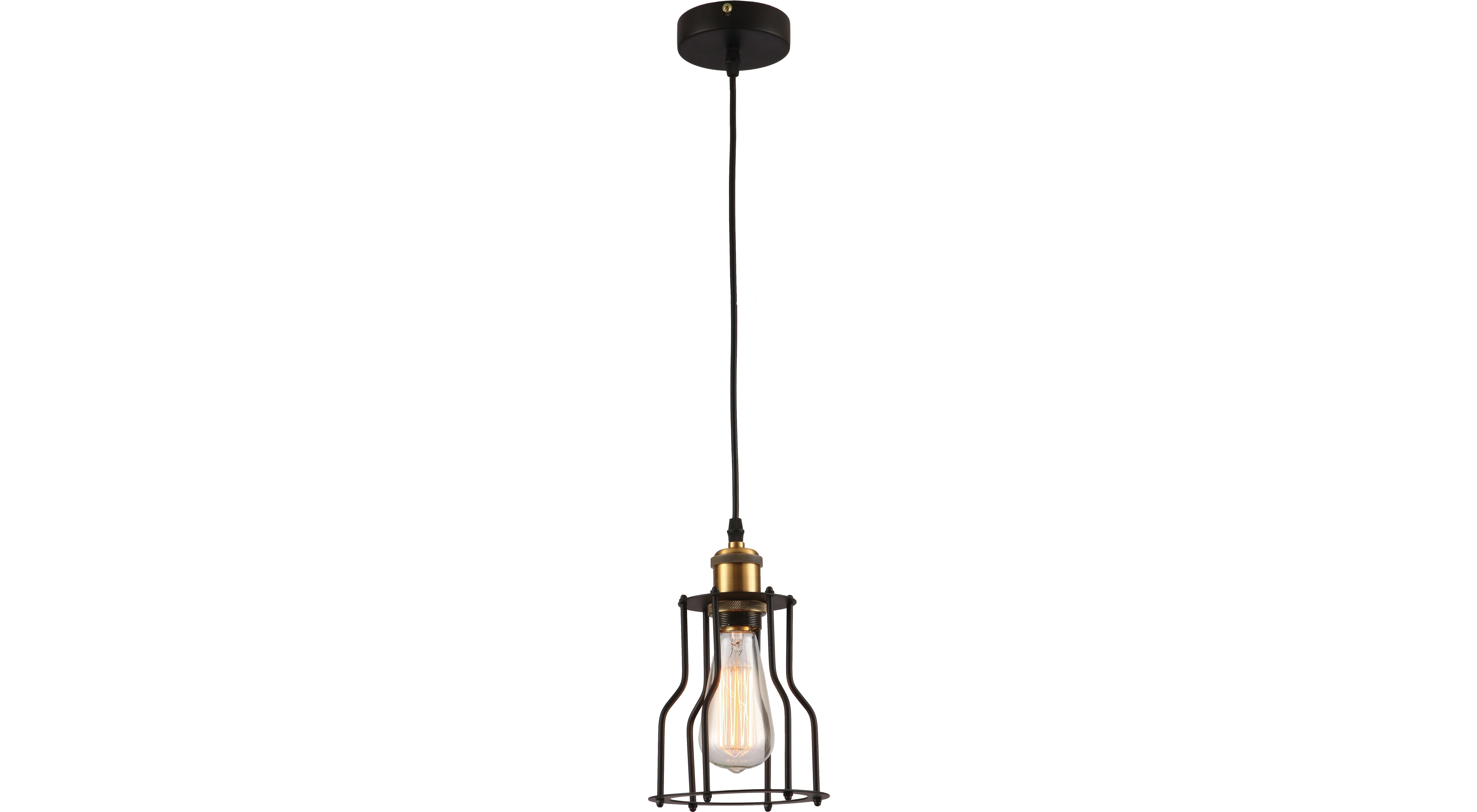 Подвесной светильникПодвесные светильники<br>Материал: металл<br>Лампочки в комплекте: 1*60W<br>Цоколь: E27<br>Цвет: черный, золото<br><br>Material: Металл<br>Высота см: 120